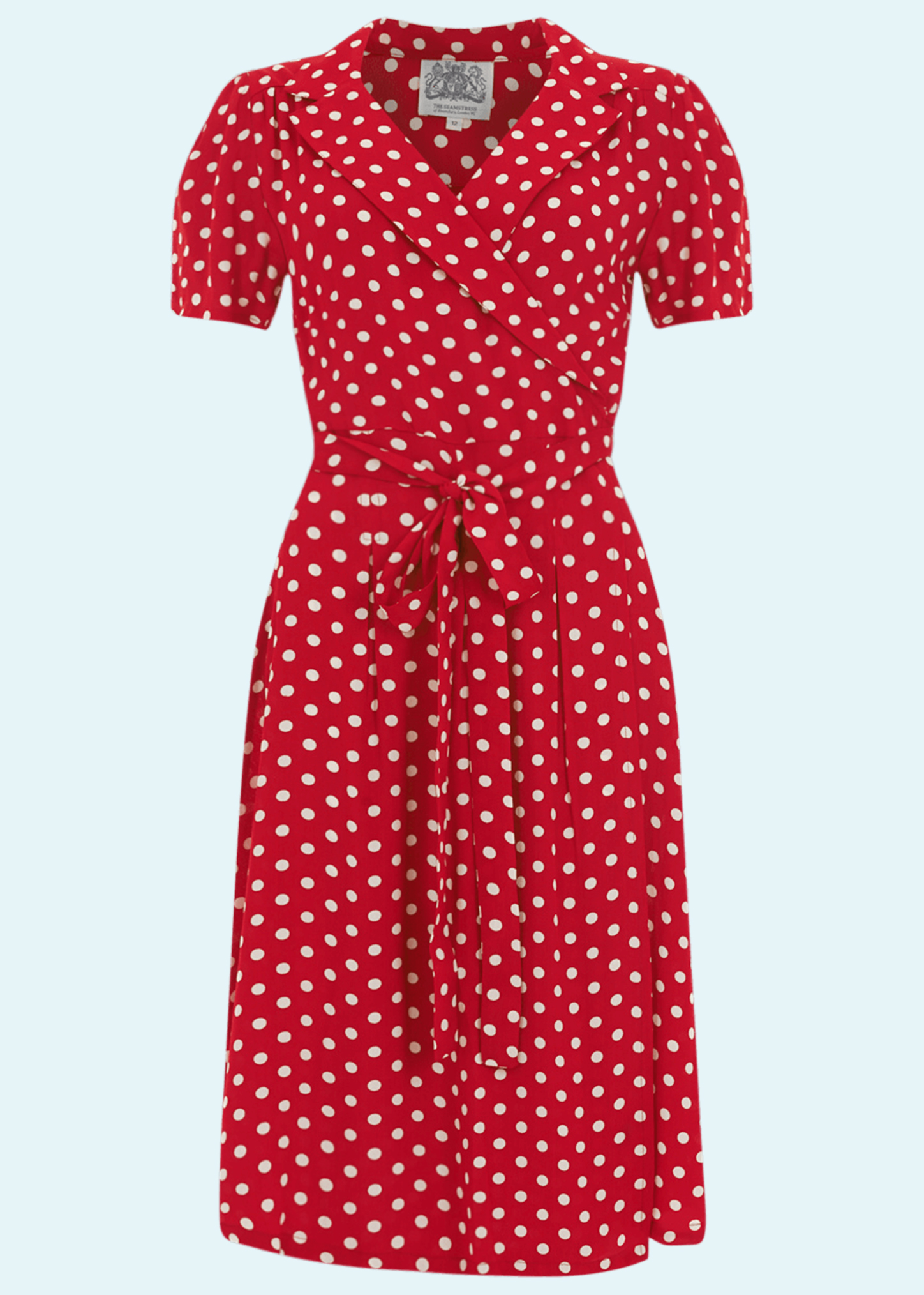 Red slouch dress with white dots from The Seamstress Of Bloomsbury