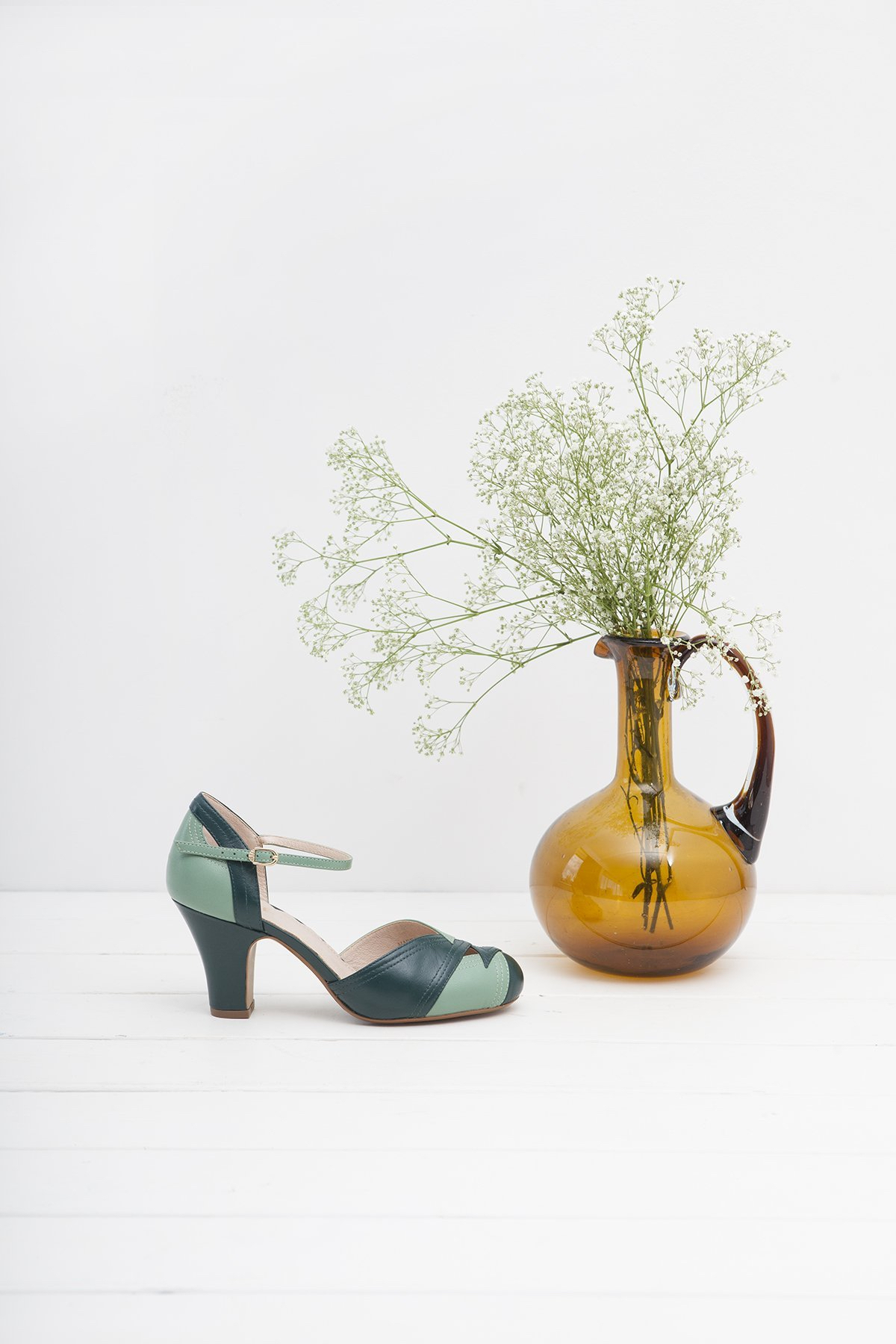 Grace shoes in vintage green from Miss L Fire