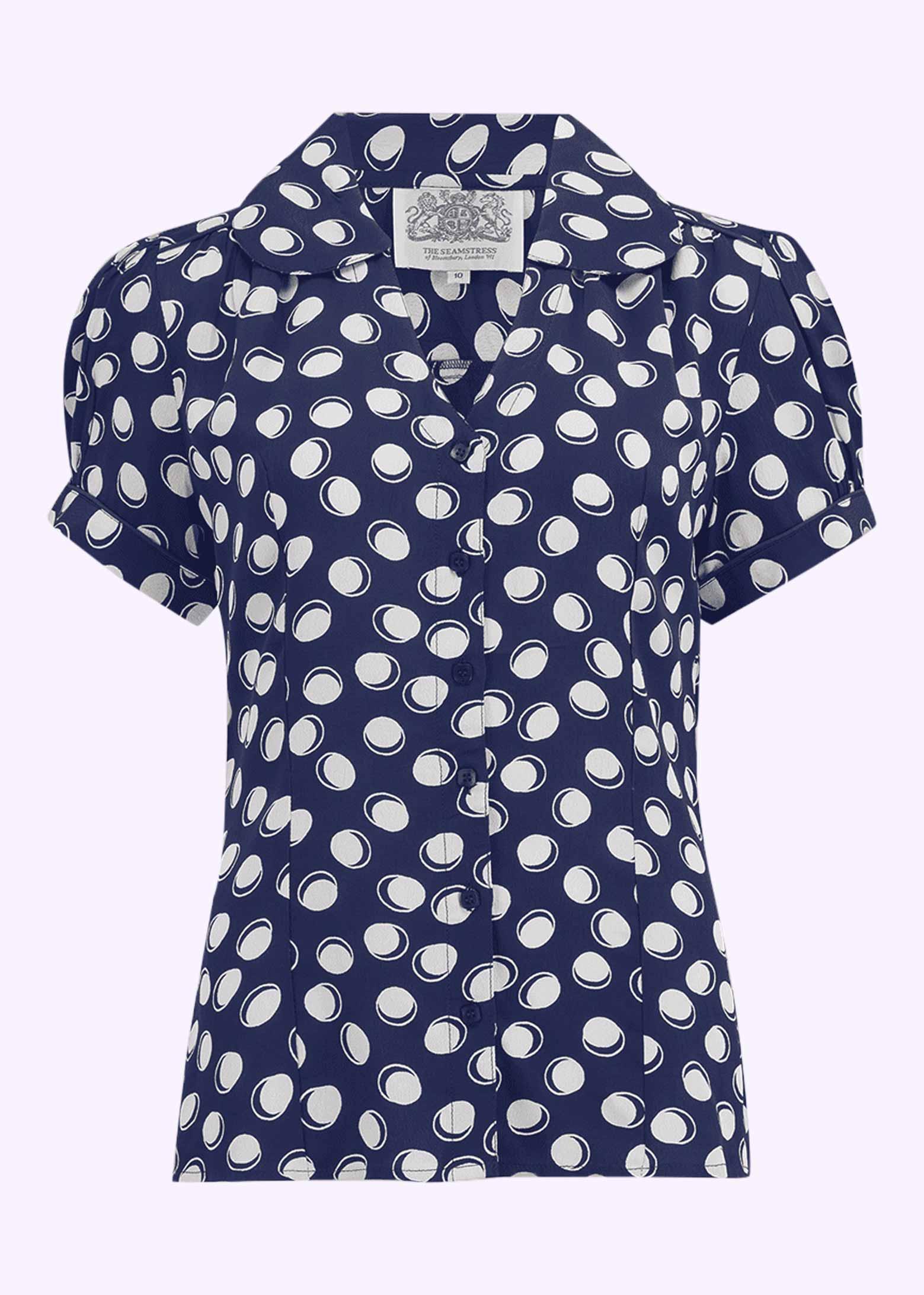 Navy blå vintage stil skjorte med prikker fra The Seamstress Of Bloomsbury