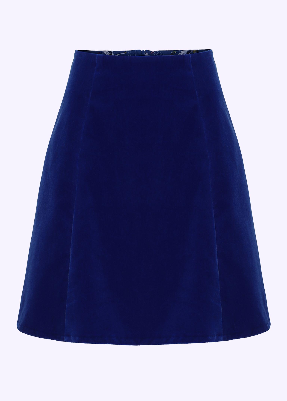 60'er mini skirt i blå velour fra Grünten Mode