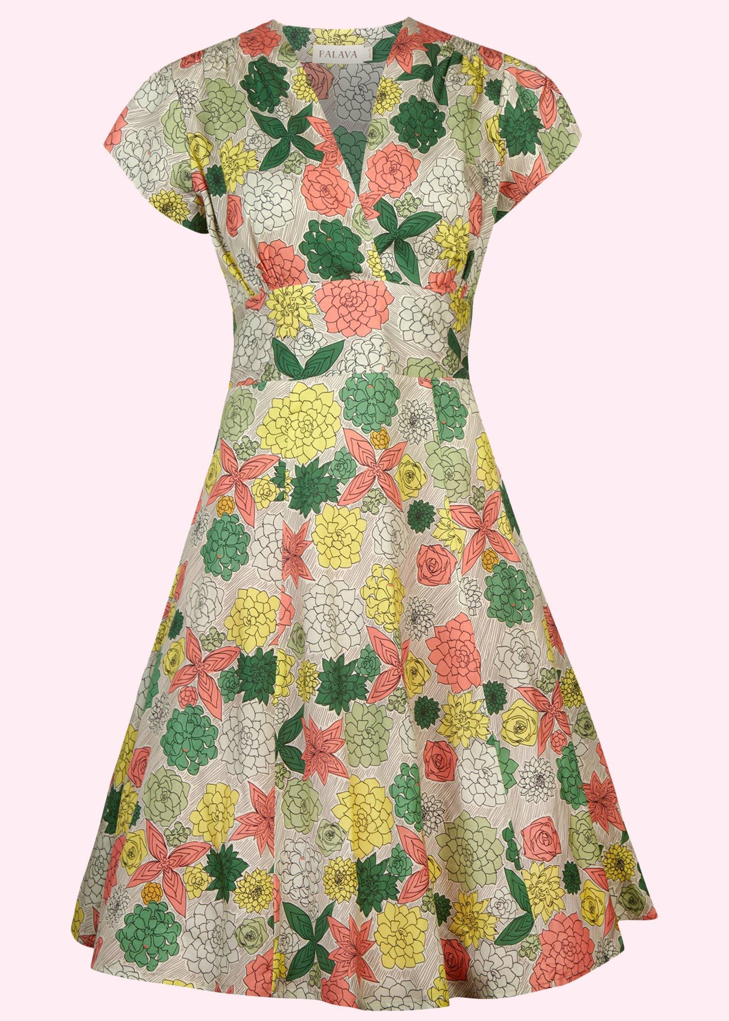 Rita kjole fra Palava i Retro print med blomster