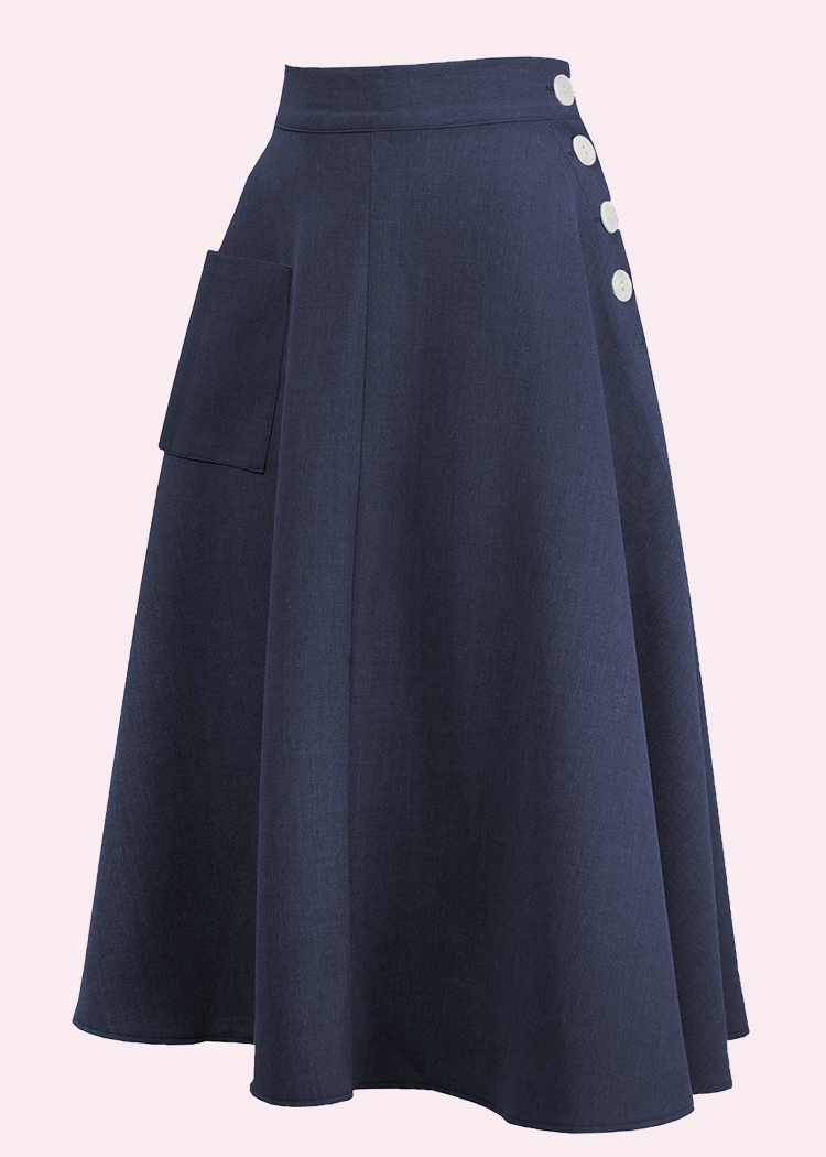 Simple 1940s A-line skirt in navy blue from The House Of Foxy