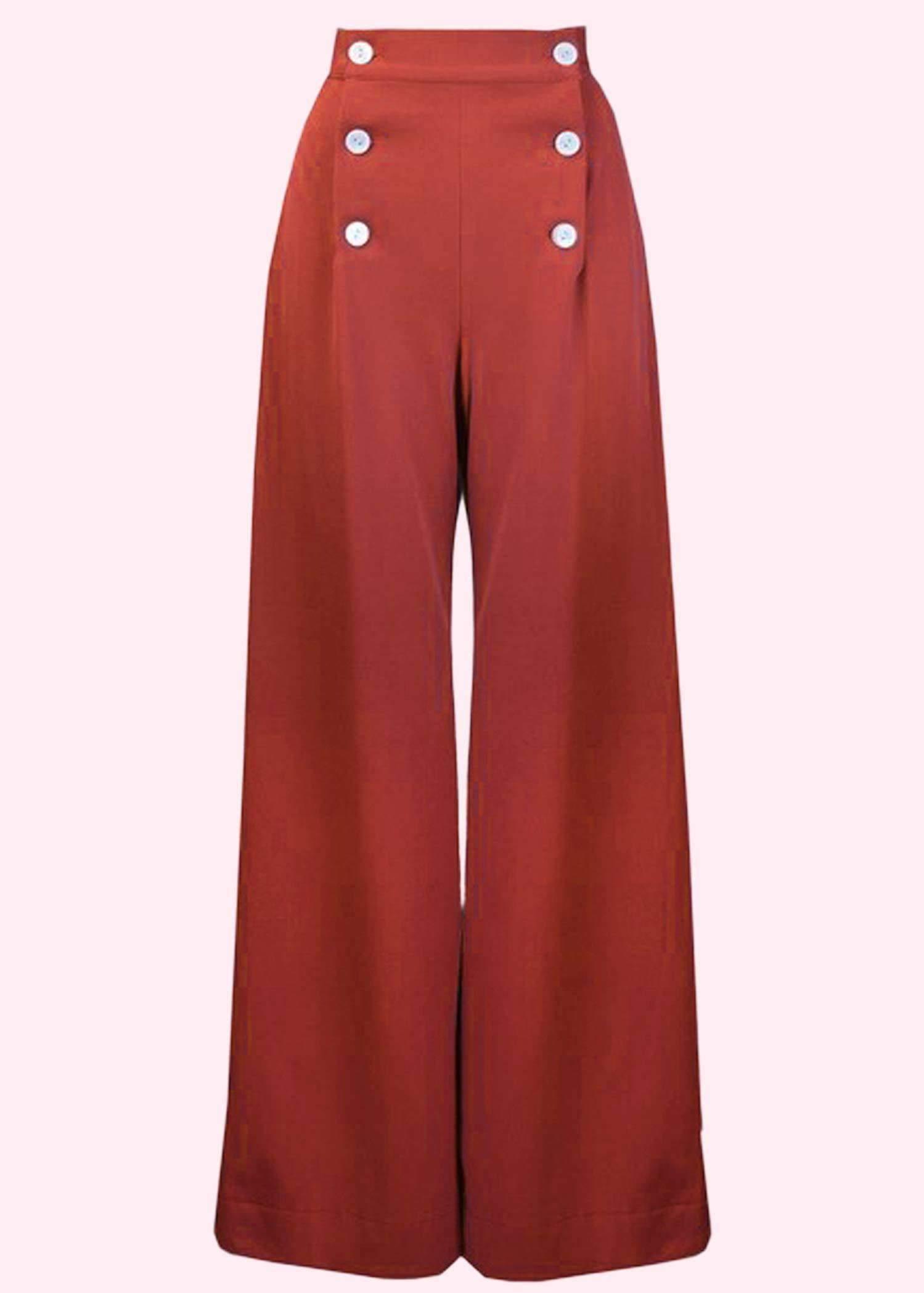 Røde bukser med brede ben fra The House Of Foxy