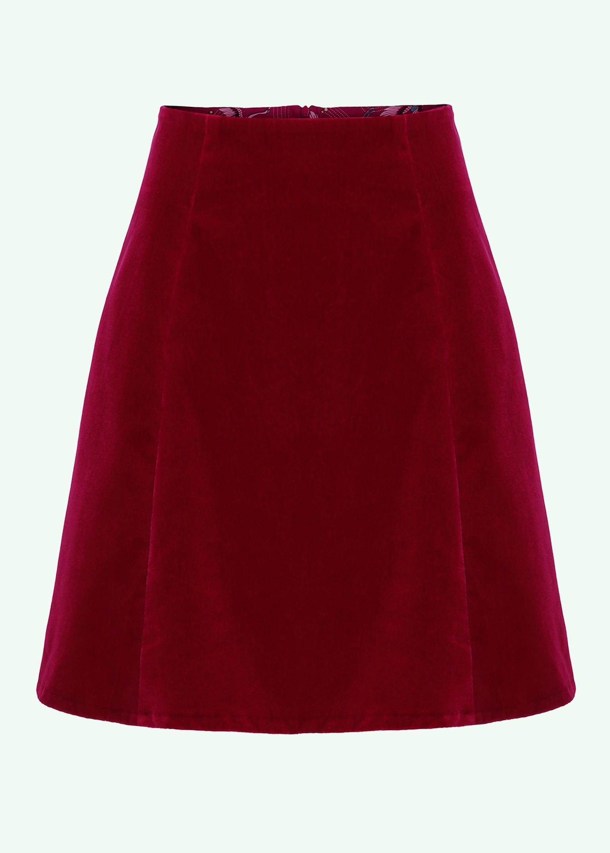 60'er mini skirt i rødt velour fra Grünten Mode
