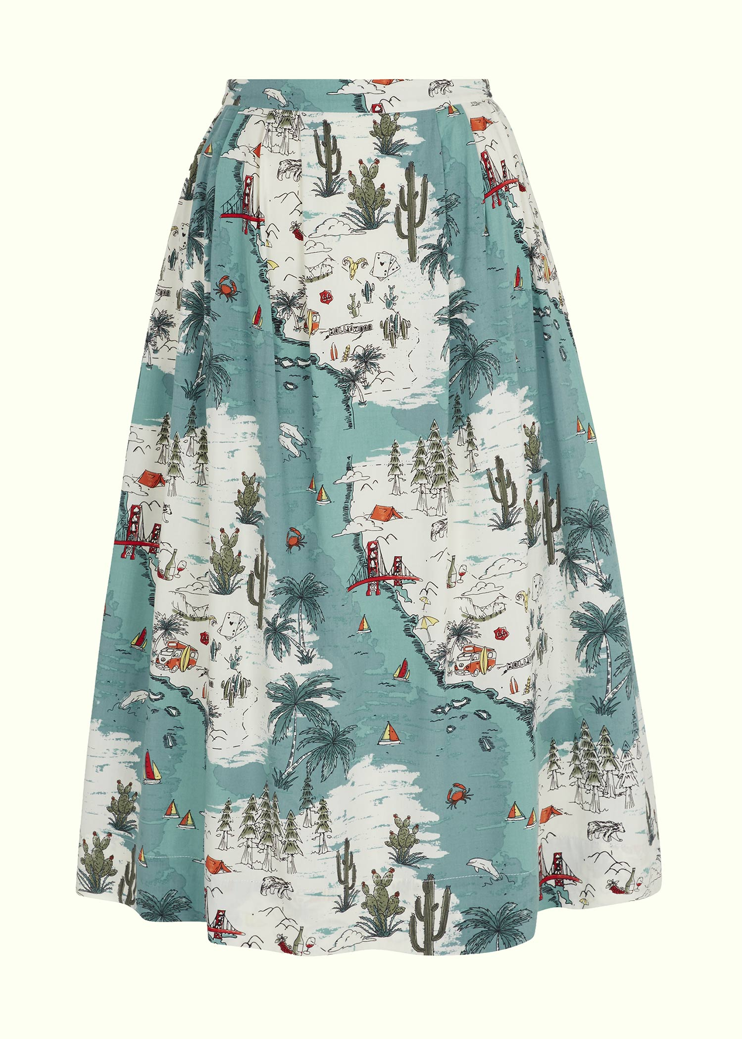 1950s style swing summer skirt in california print by emily and fin