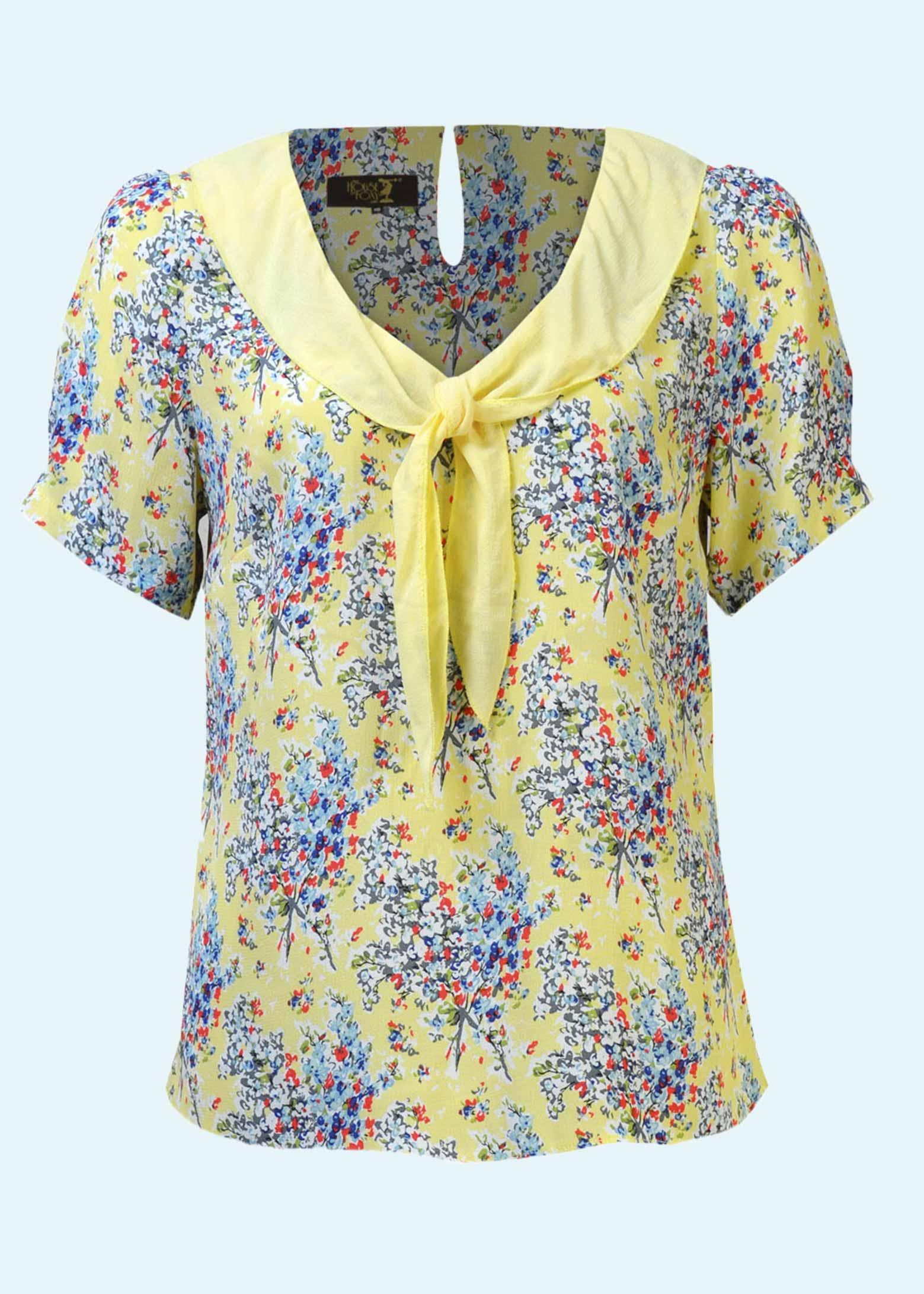 Gul blomstret bluse i vintage stil fra The House Of Foxy