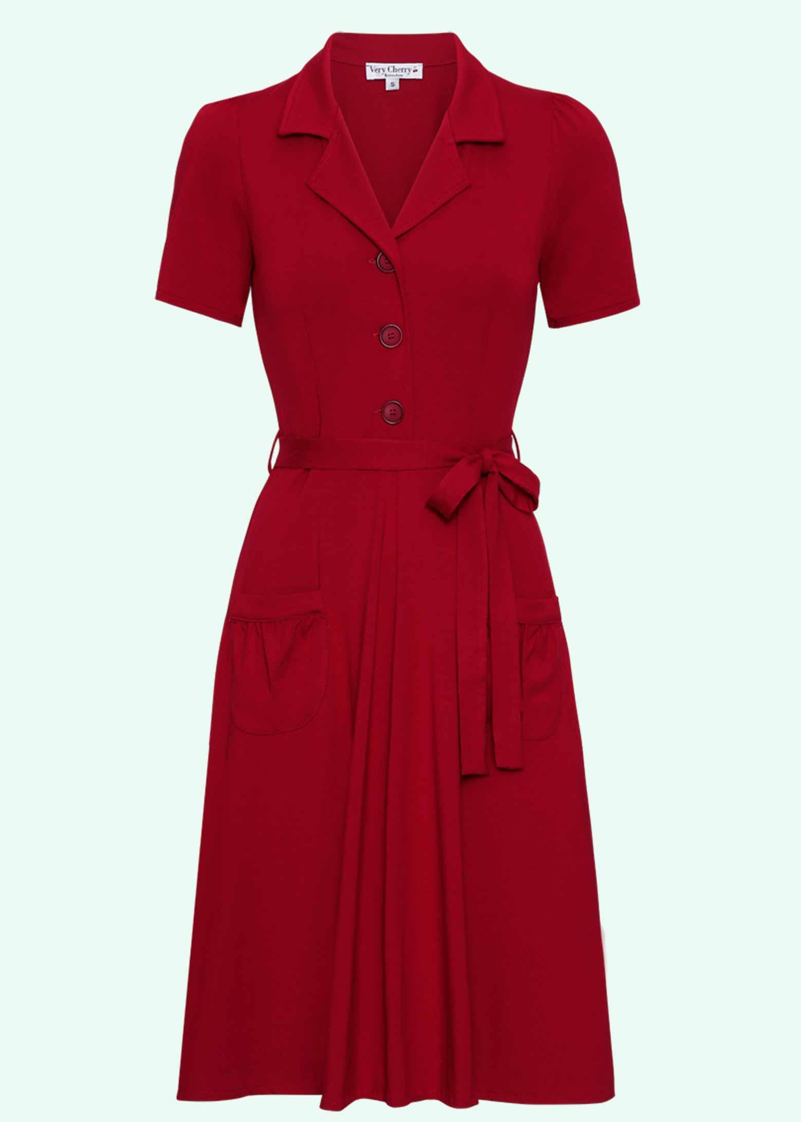 Klassiske rød 40'er stils skjortekjole fra Very Cherry