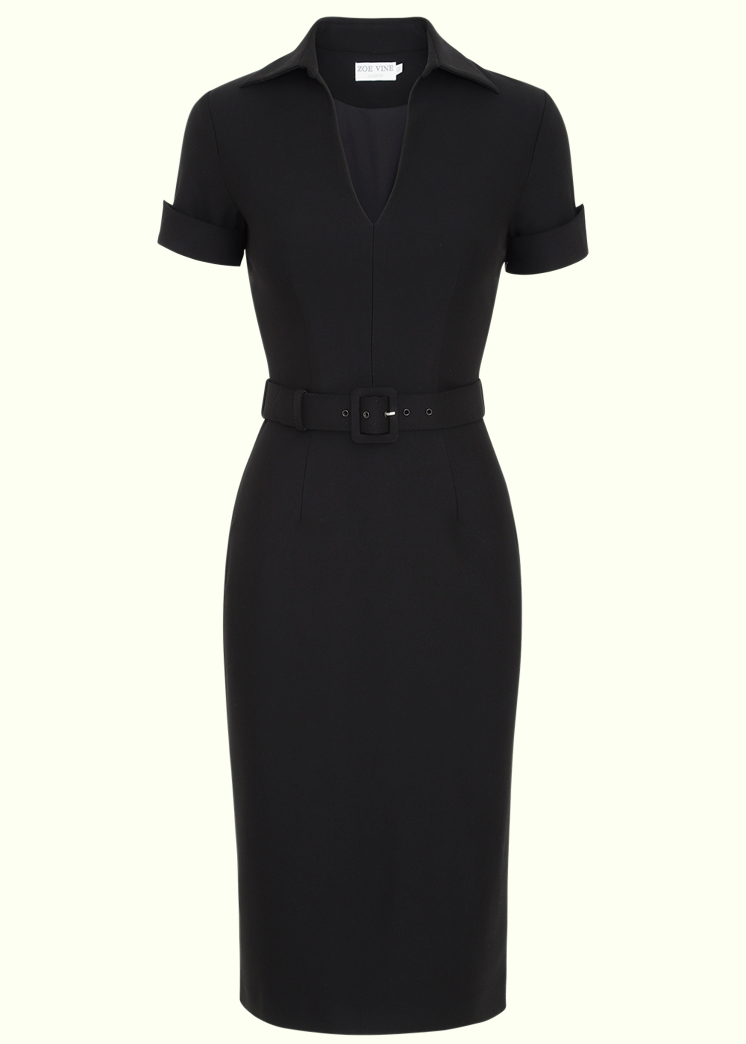 Black pencil dress in 50s style from Zoe Vine