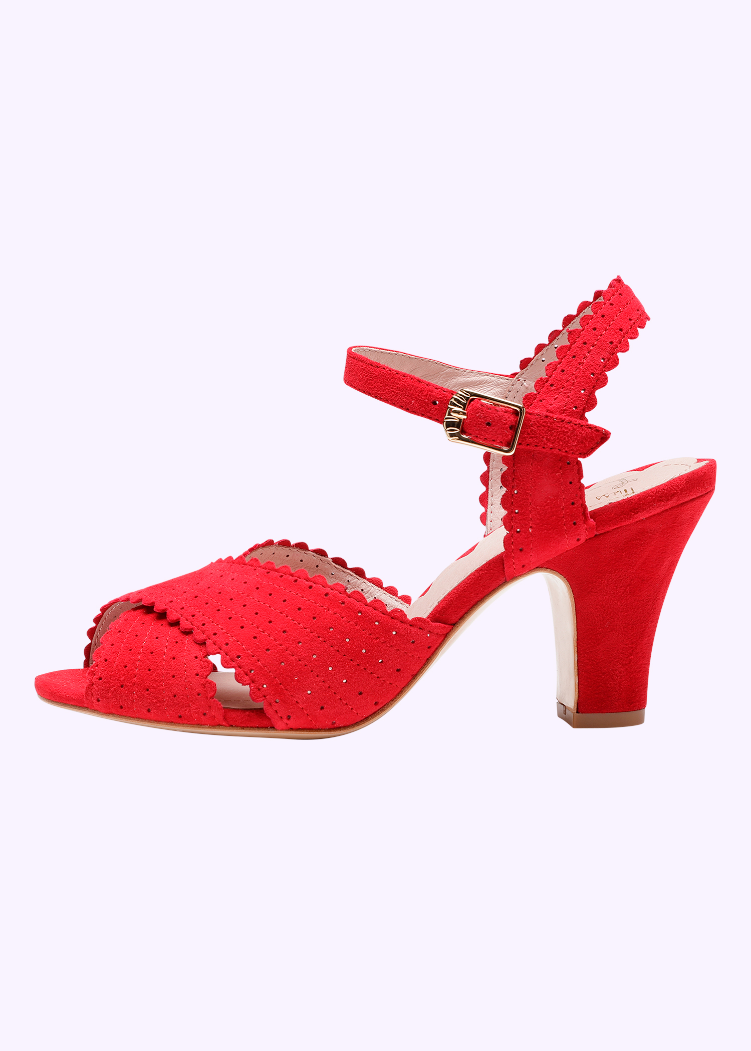 Miss L Four red beatriz sandal in quality suede