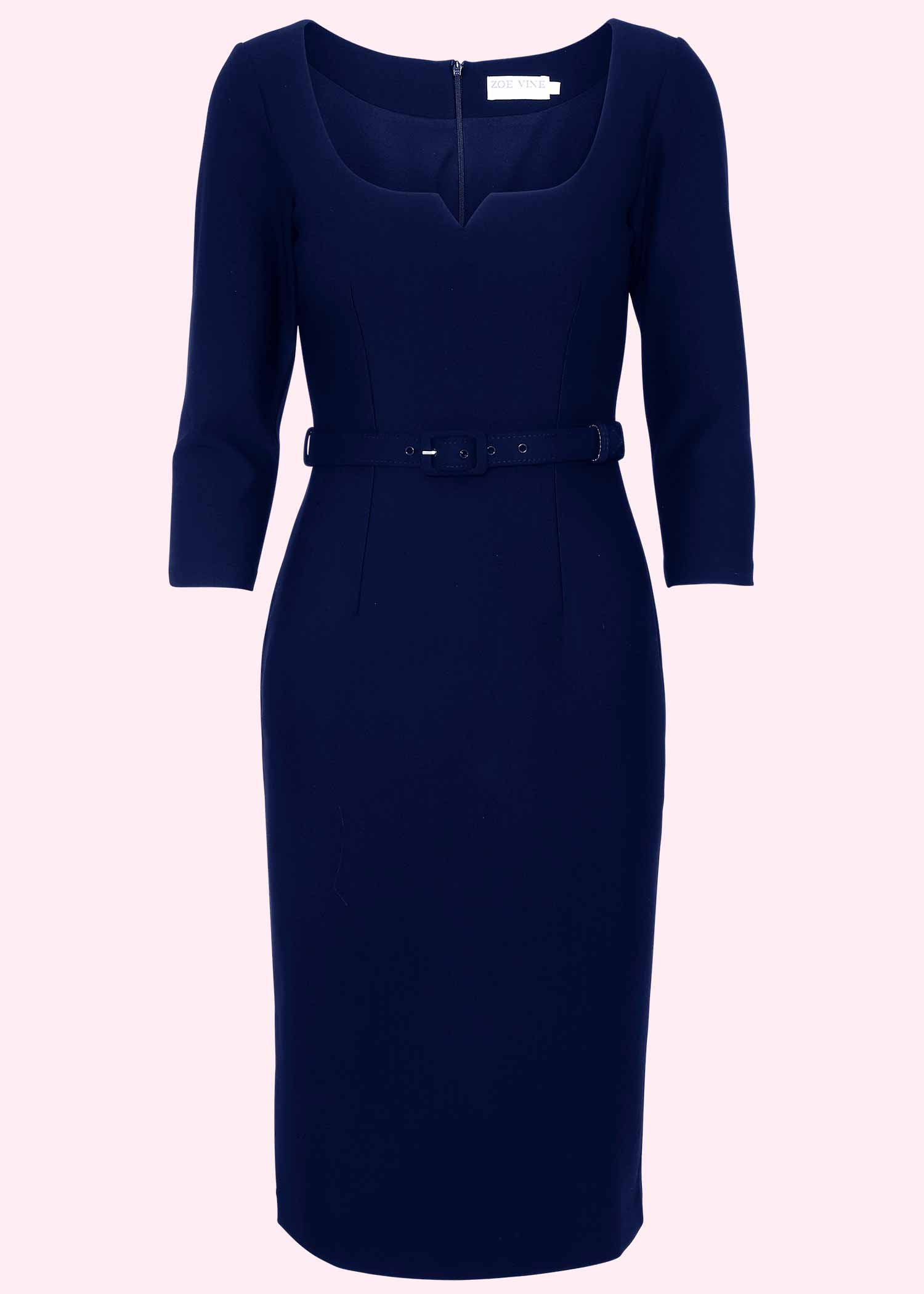 Navy Blue pencil dress in 50s style from Zoe Vine