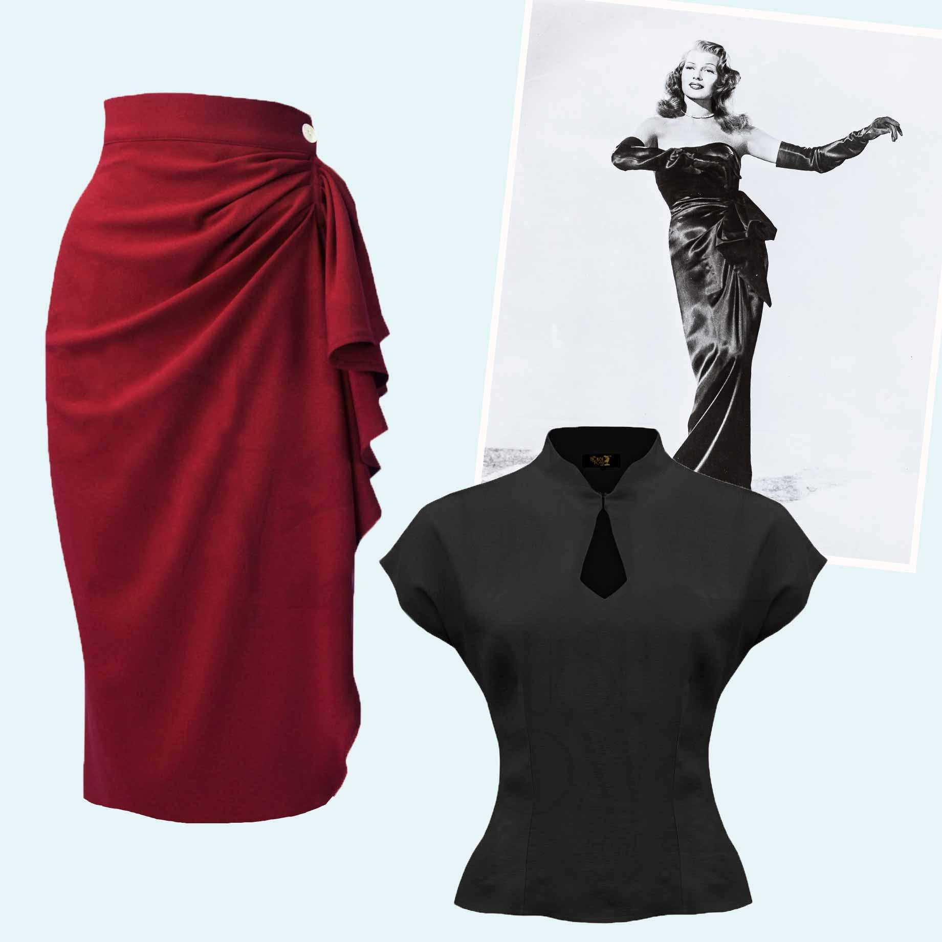 1940'er inspireret sæt bestående af top og nederdel