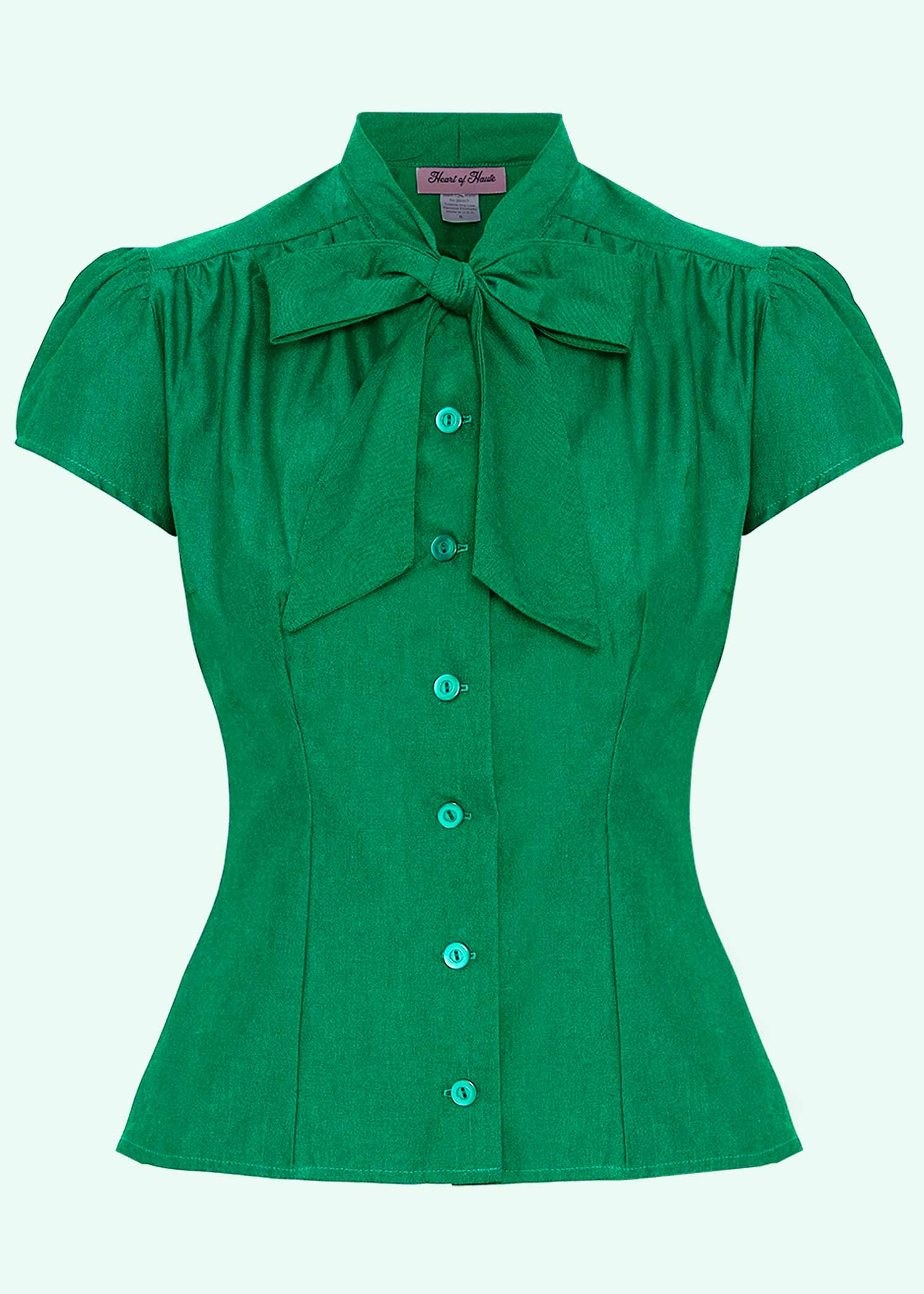 """Estelle shirt with """"pussy bow"""" in green from Heart Of Haute"""