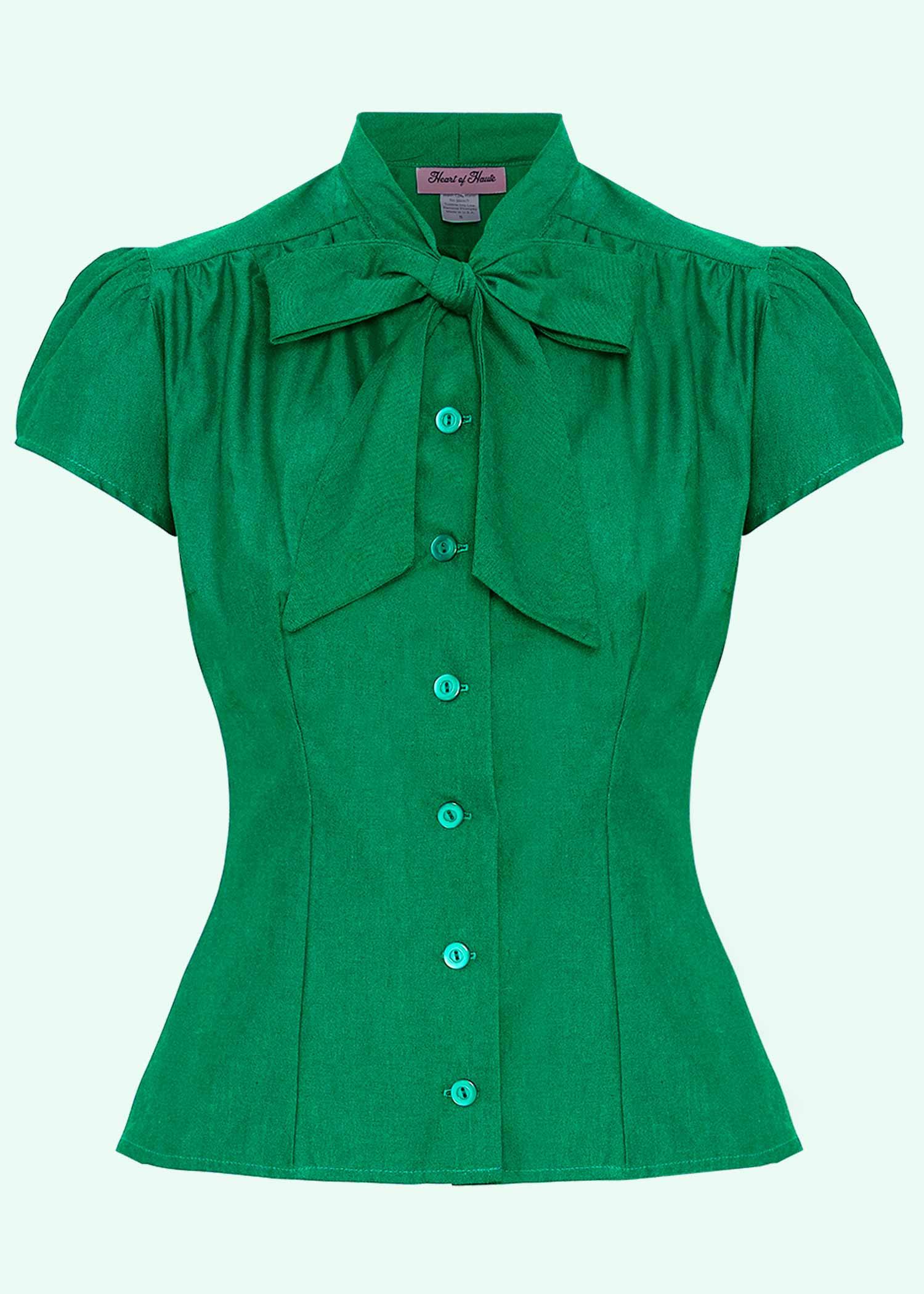 """Estelle skjorten med """"pussy bow"""" i grøn fra Heart Of Haute"""