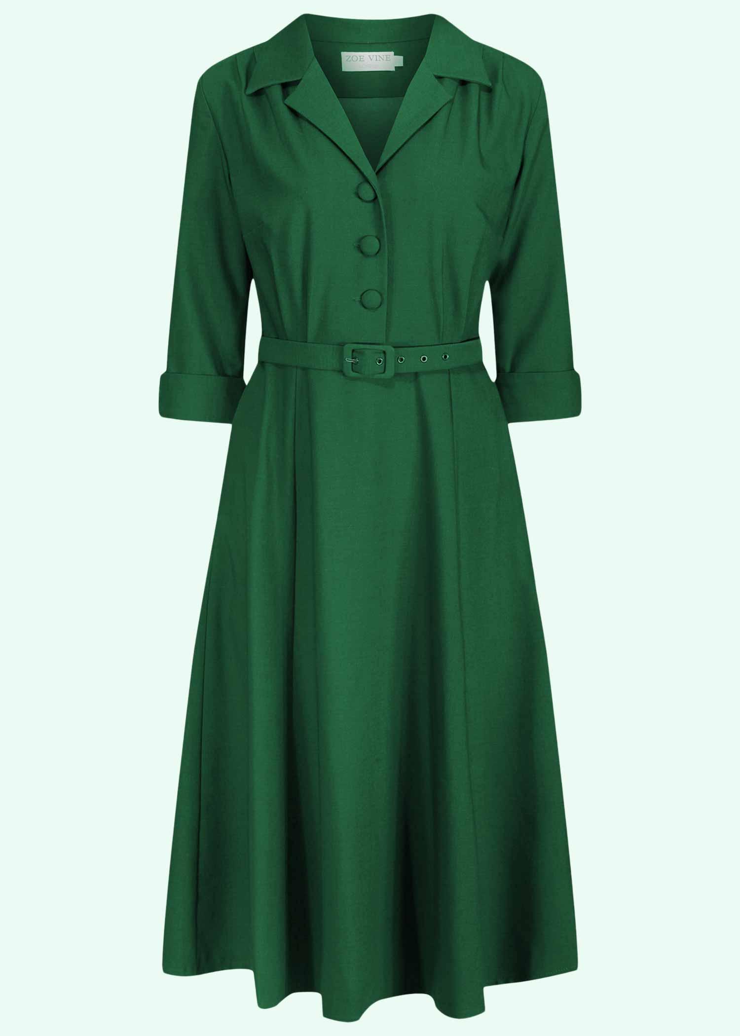 Grøn skjortekjole med lange ærmer fra Zoe Vine