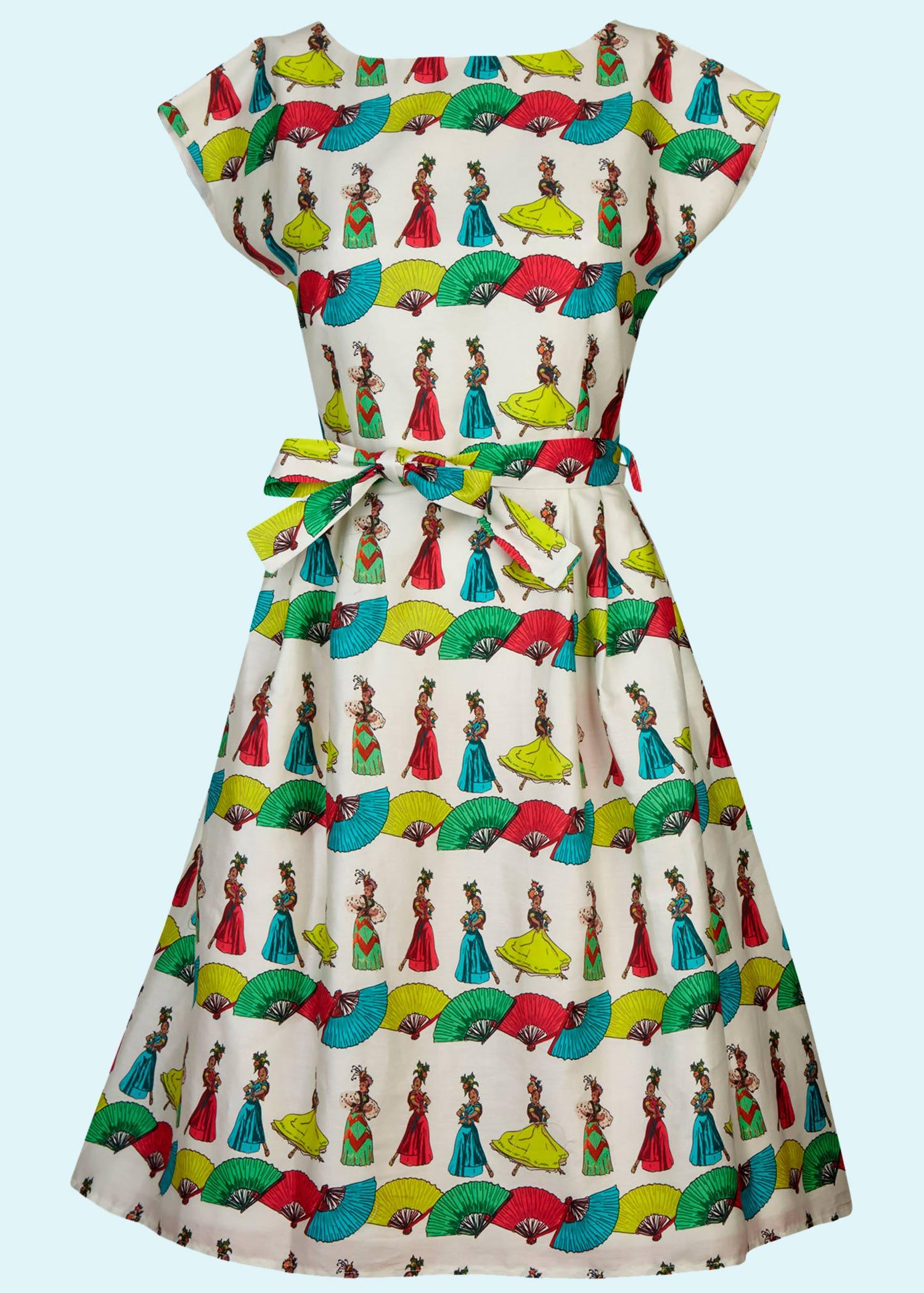 Beatrice kjole i bomuld med print af danskende damer fra Palava