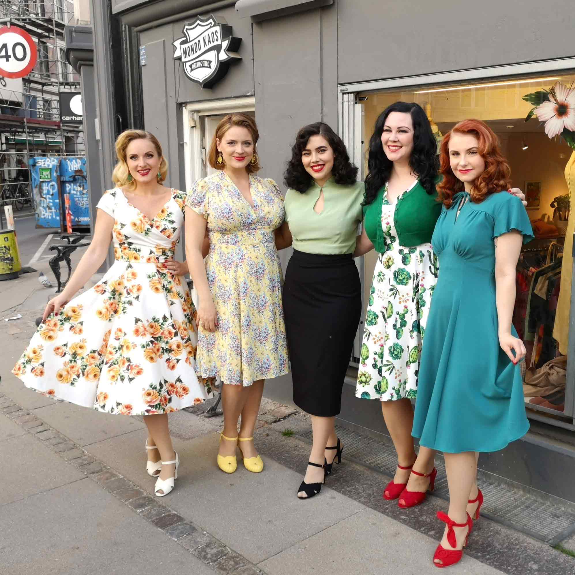 The models for our Retro Fashion Show are ready in beautiful summer dresses