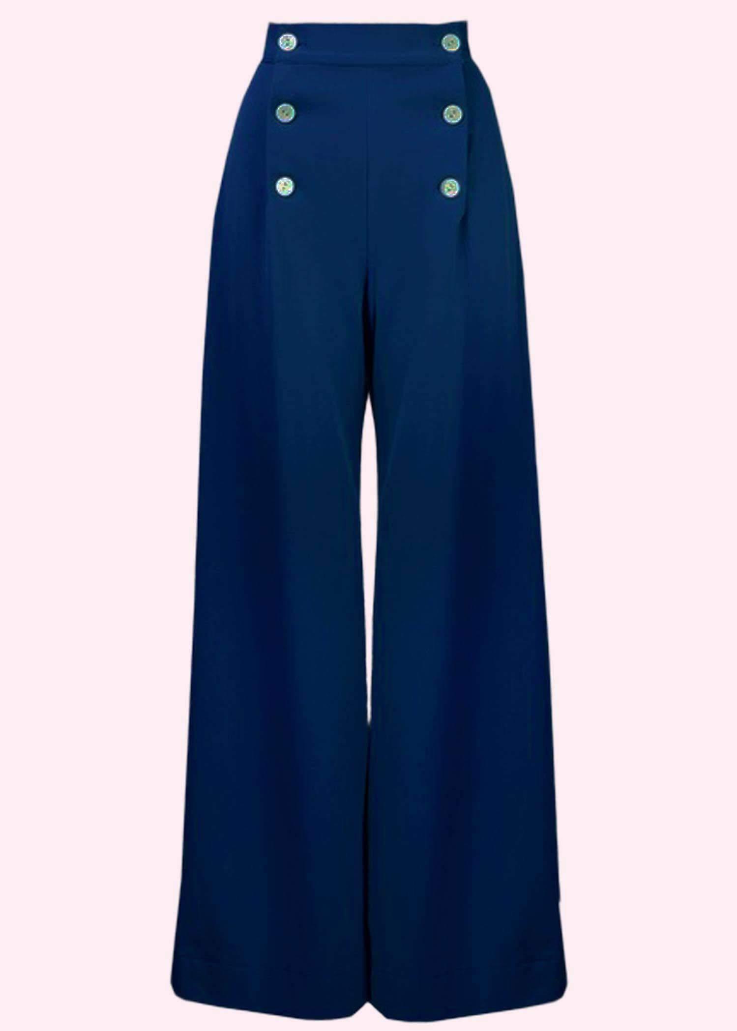 Brede bukser i navy blå fra The House Of Foxy