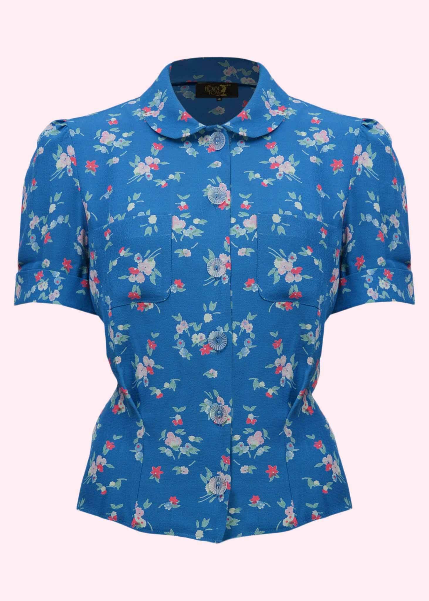 Vintage stils Lyseblå kortærmet skjorte med blomster print fra The House Of Foxy
