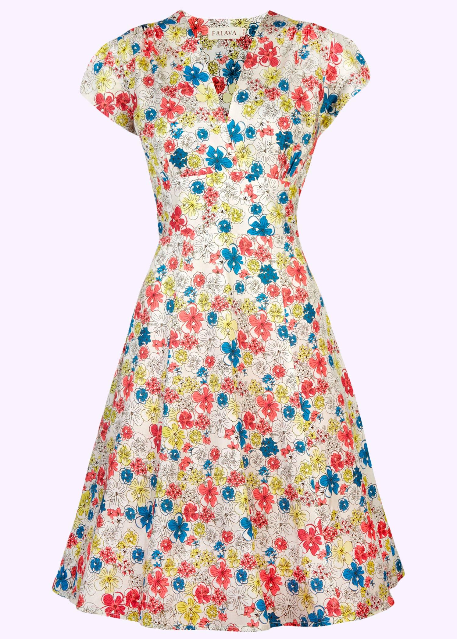 Sommer kjole fra Palava i bomuld med retro print af blomster