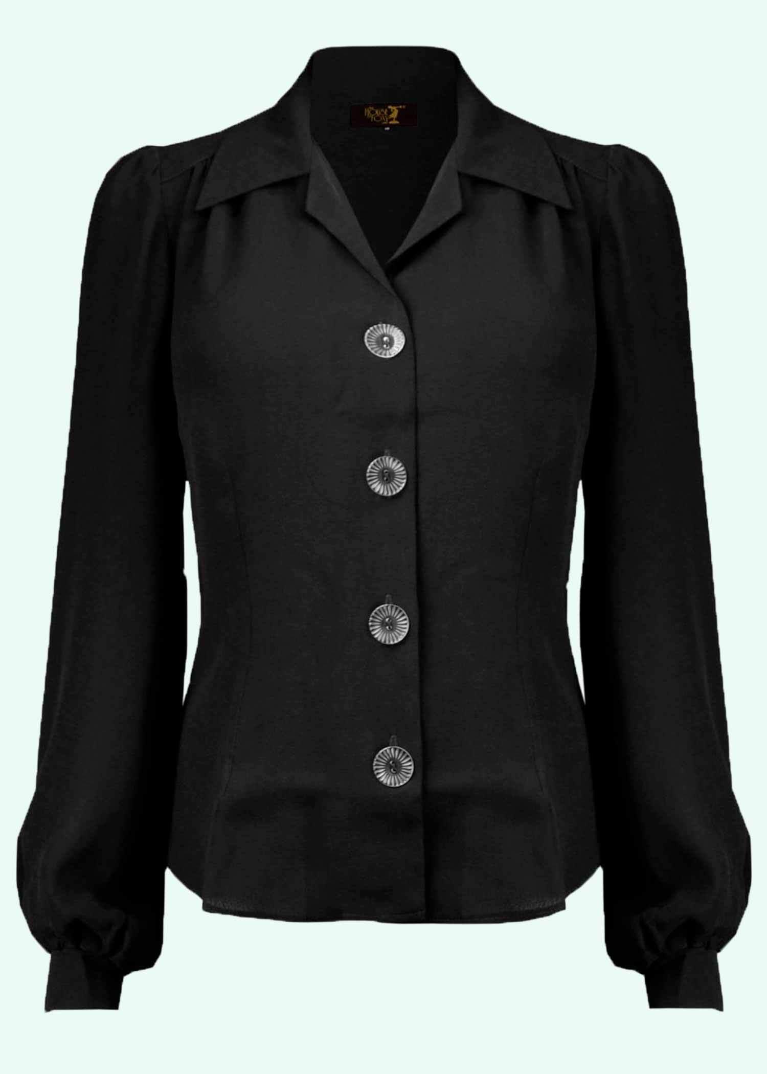 Sort langeærmet skjorte i vintage stil fra The House Of Foxy