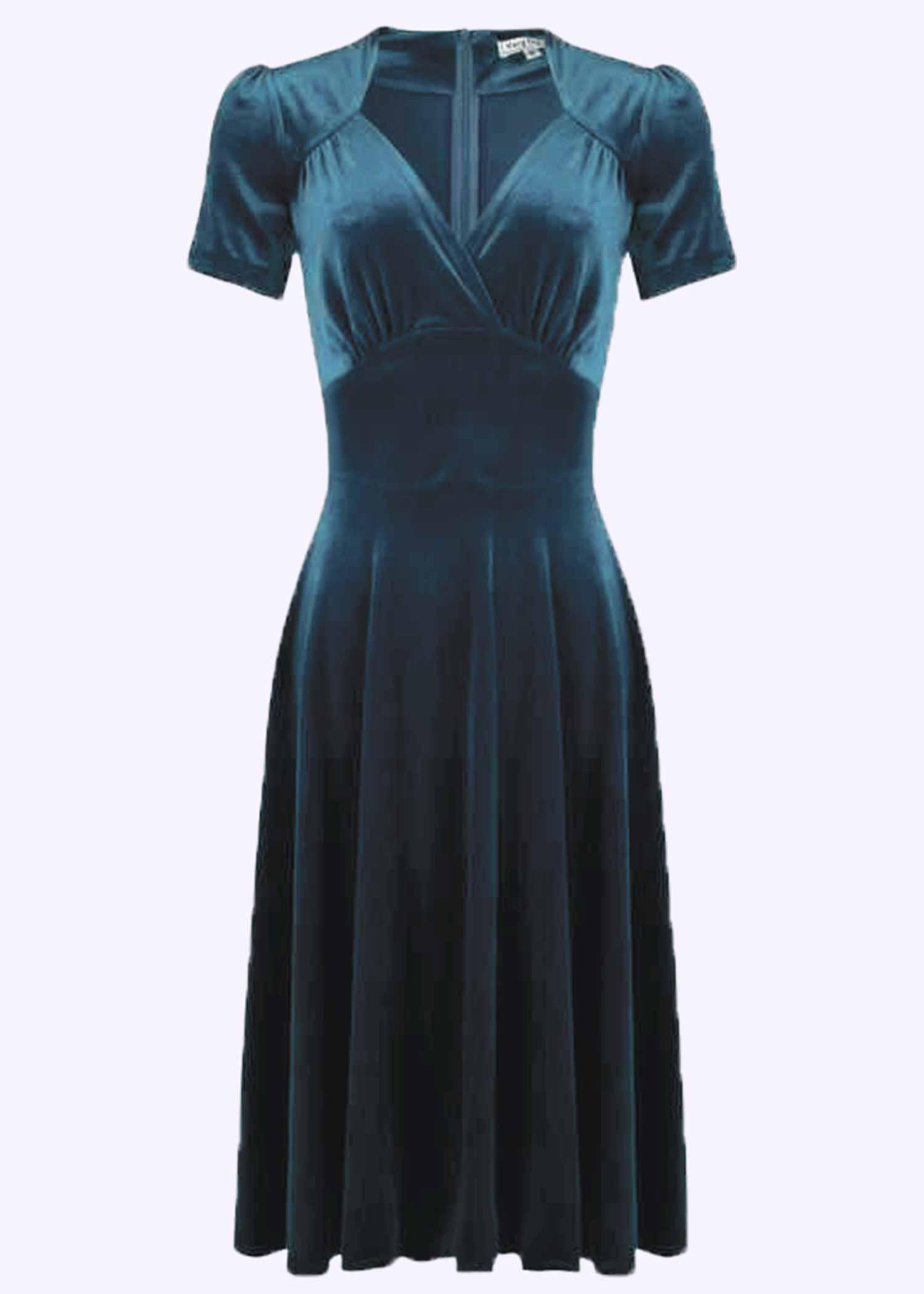 Velour kjole i blå fra Very Cherry
