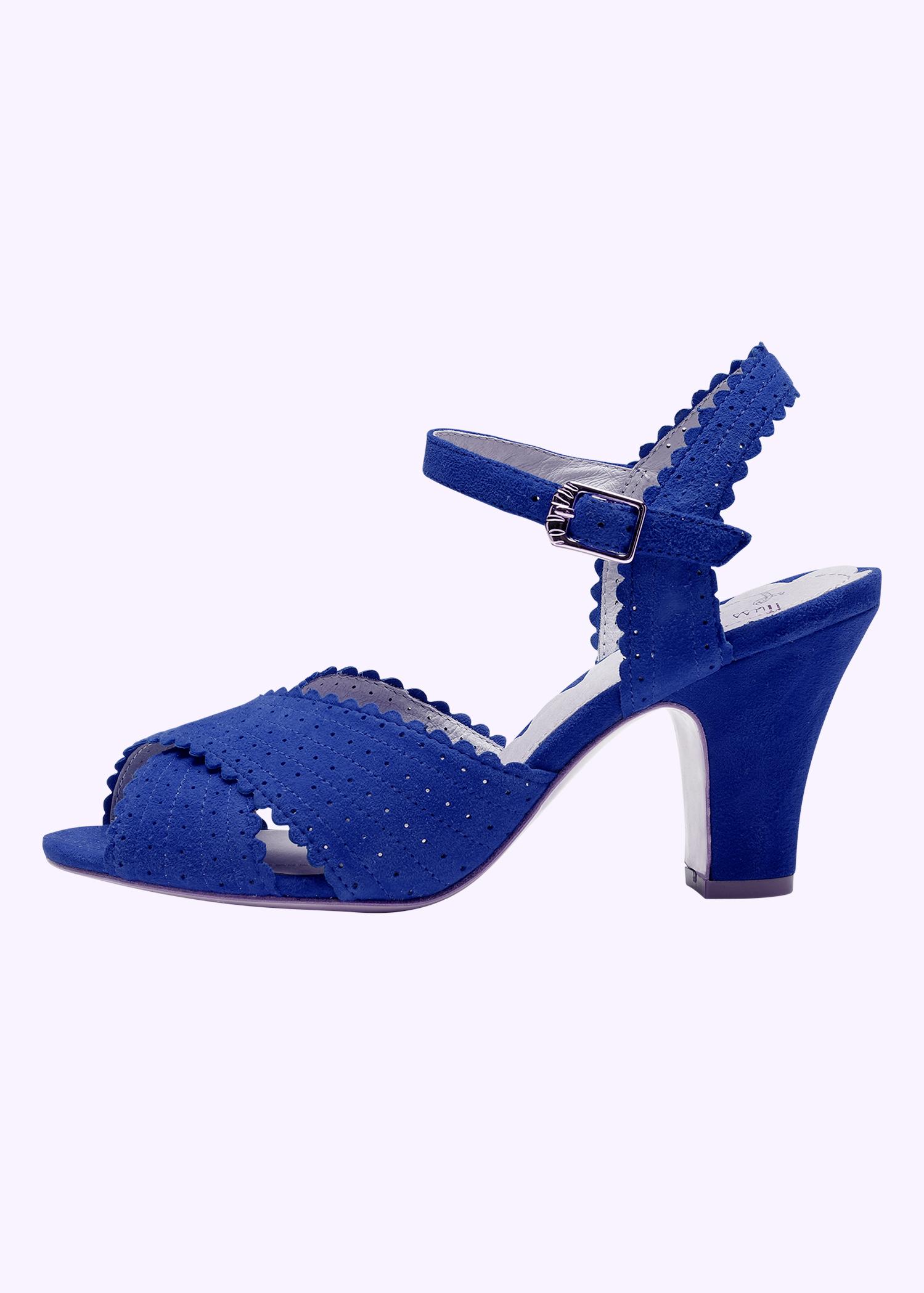 Blå 50er vintage inspirerede sko til bruden fra Miss L Fire