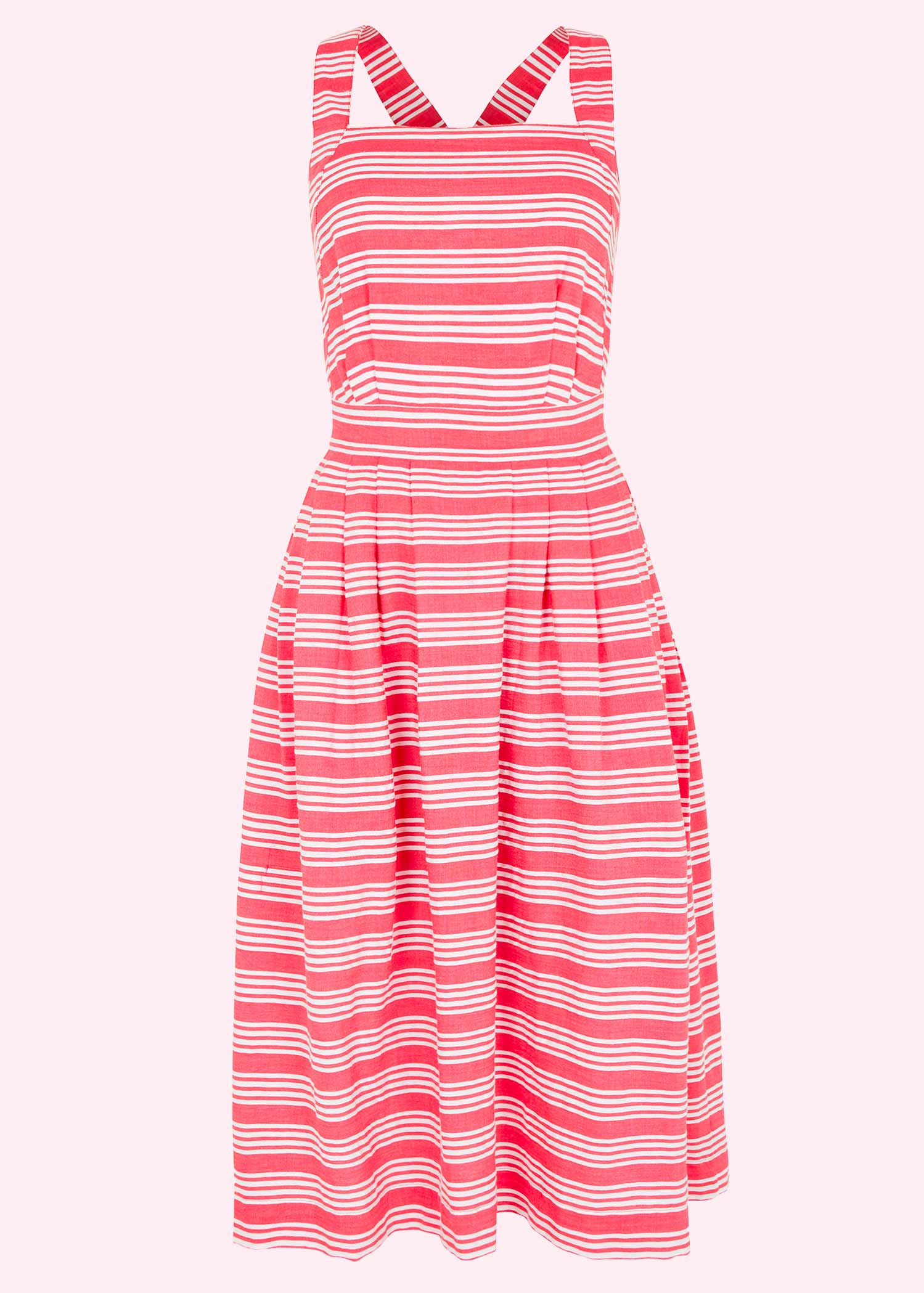 Striped white and red striped retro summer dress