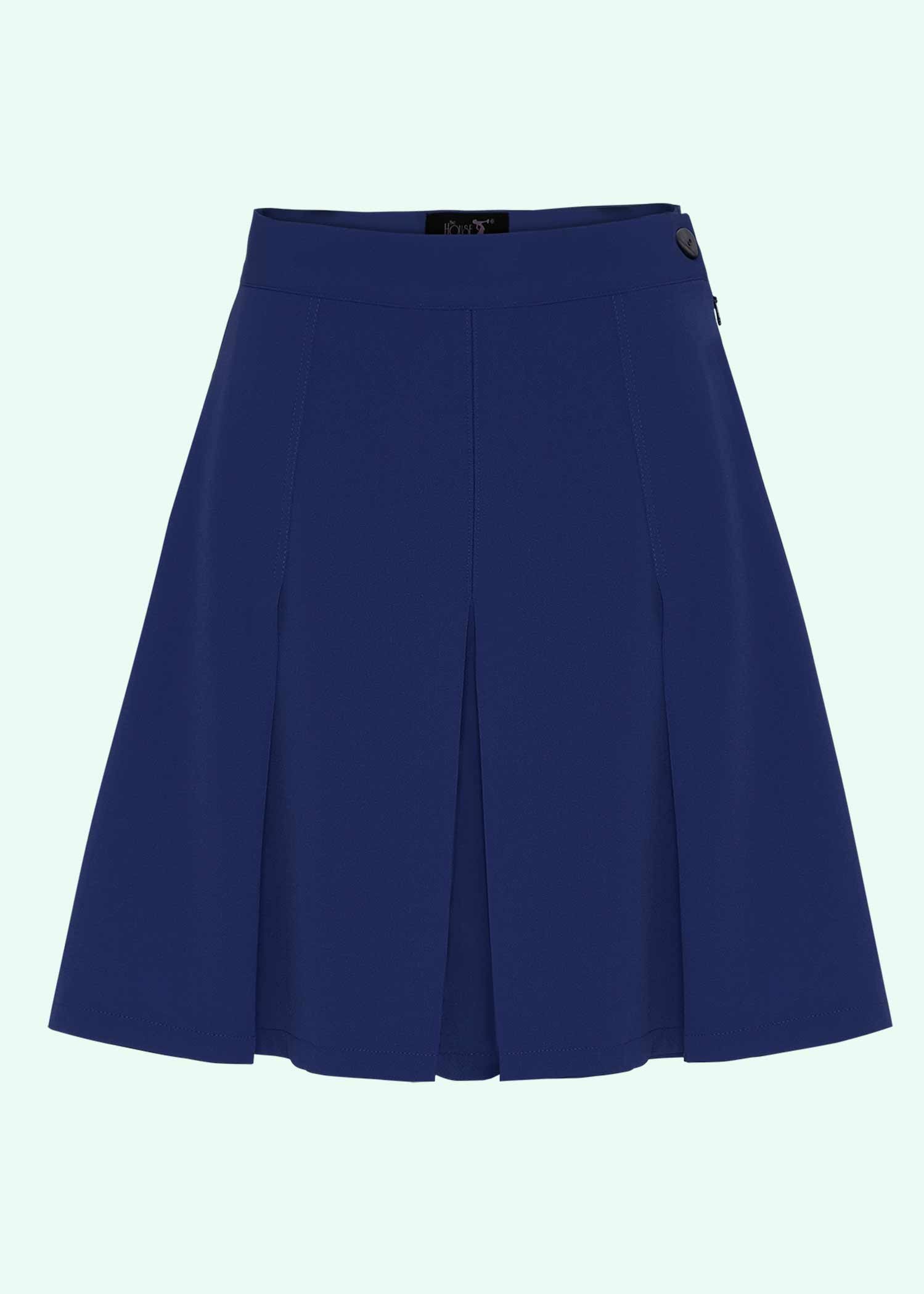 Navy blå 40er vintage stils plisserede shorts fra The House Of Foxy
