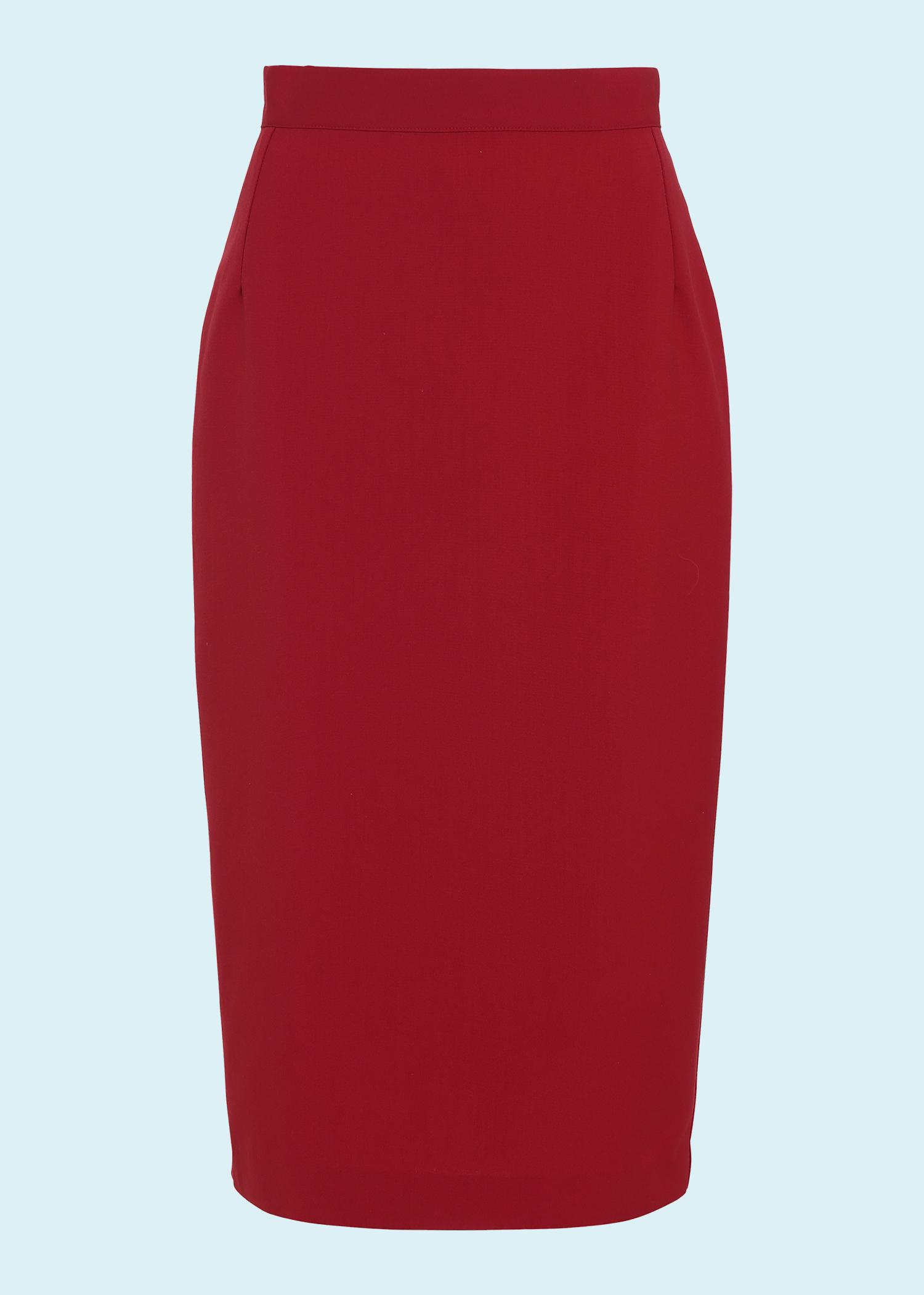 Klassisk rød pencil nederdel fra The House Of Foxy