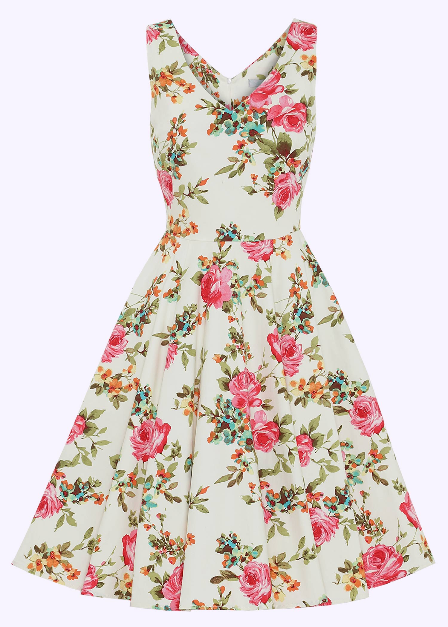 White swing dress with flowers for the bridesmaid