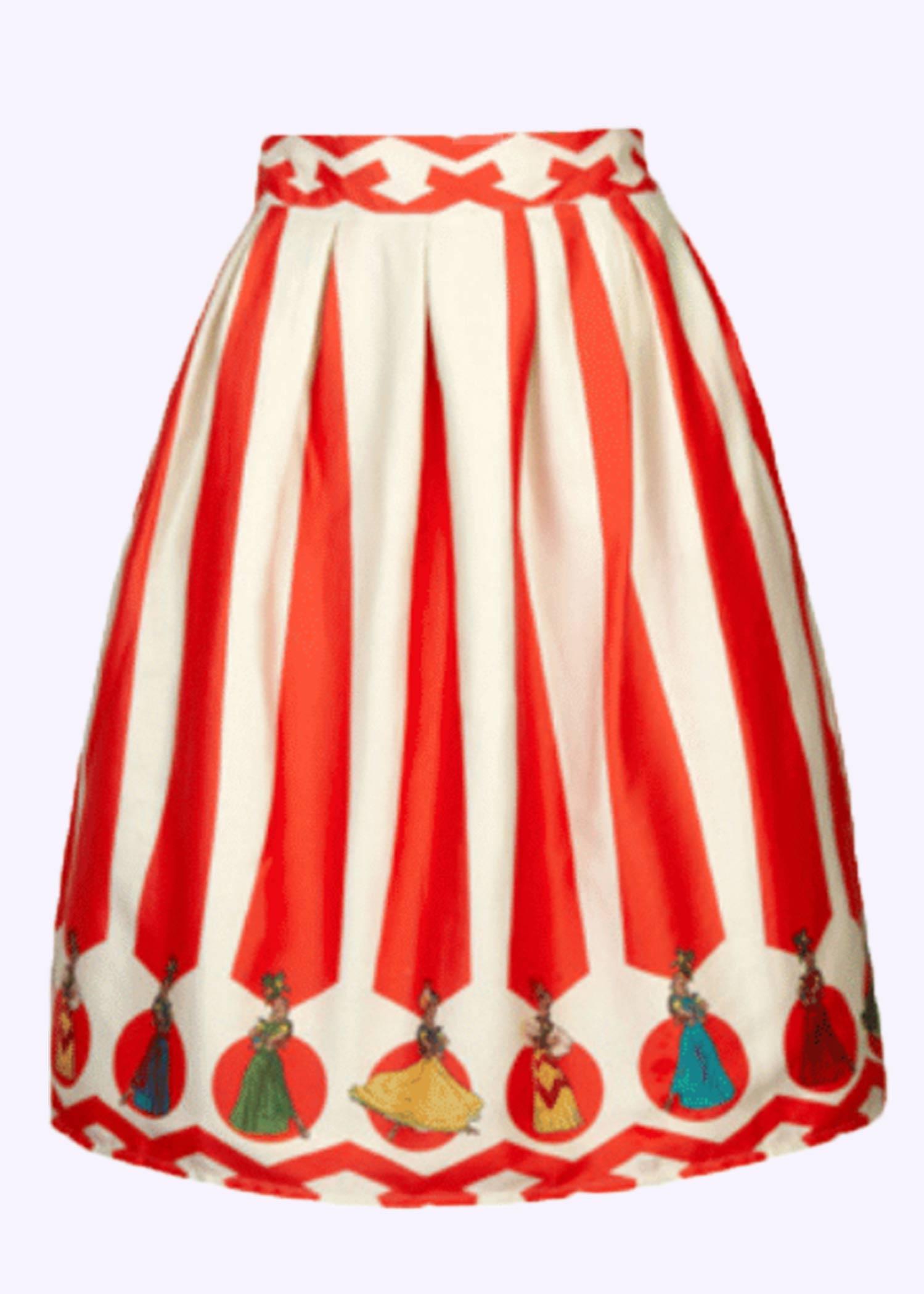 Nederdel fra Palava med vintage inspireret print af striber