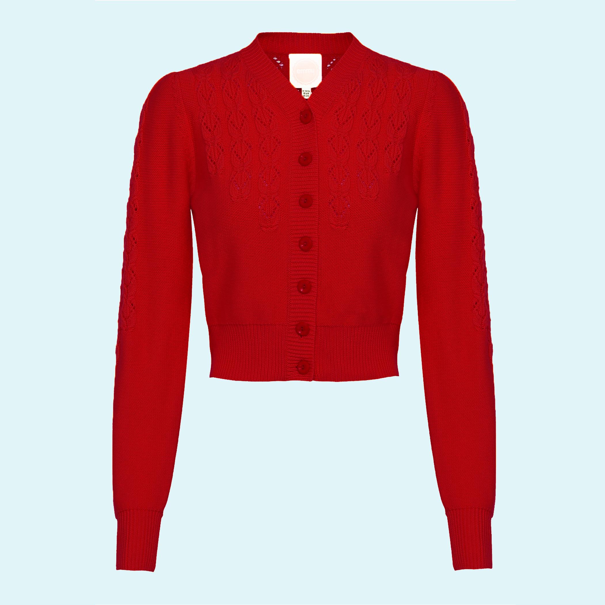 Emmy design cardigan i rød uld