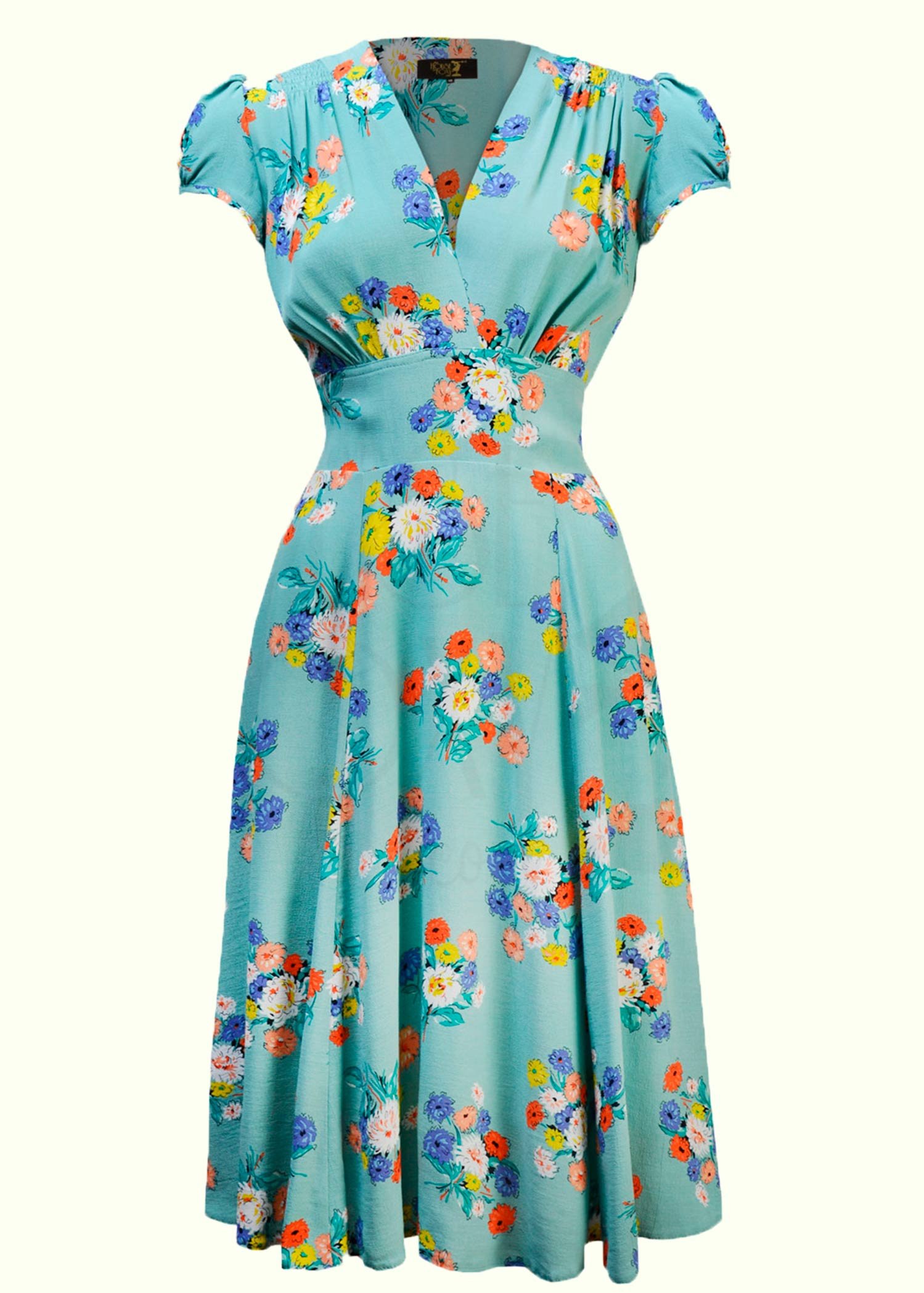 Light blue dress from House Of Foxy in a nice 40s cut with blossoms