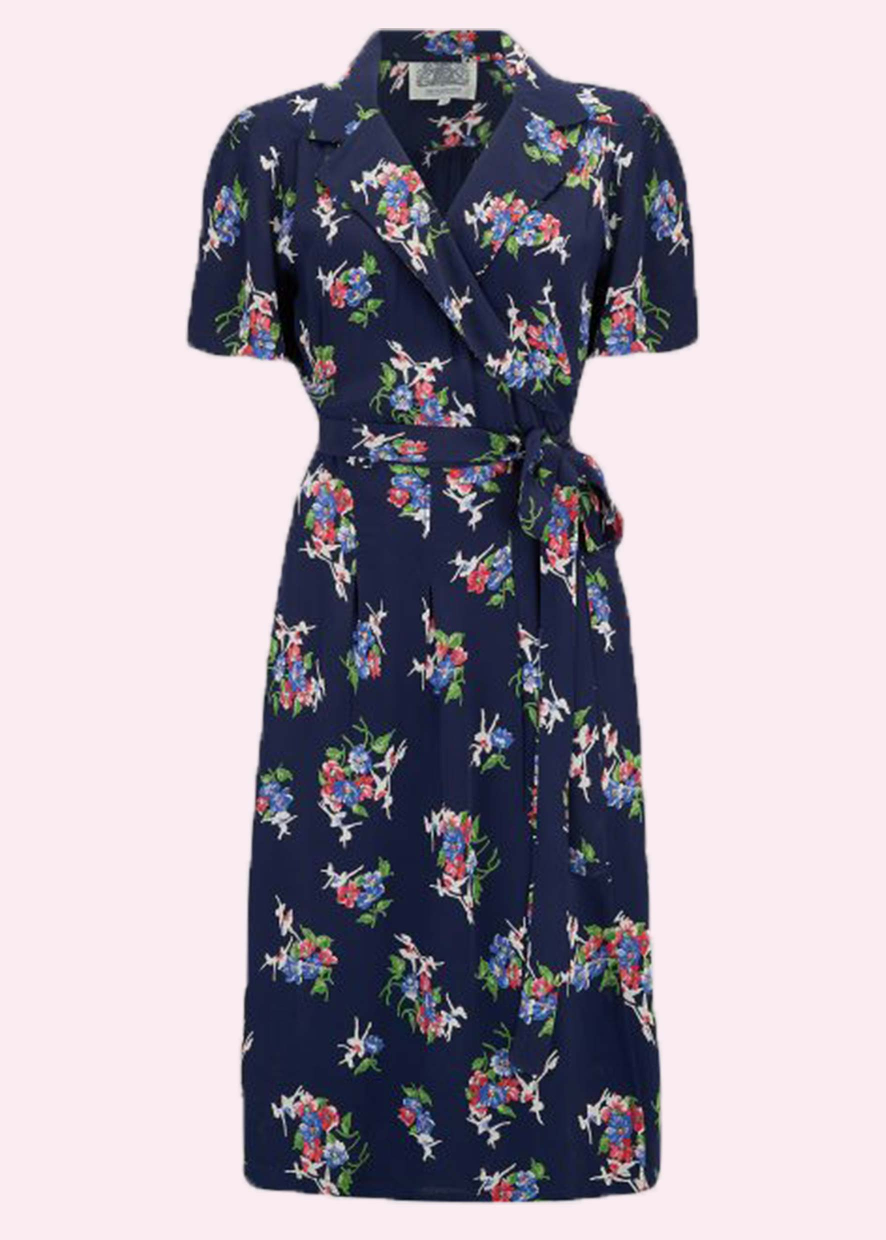 Navy blue sloom dress with floral print from The Seamstress Of Bloomsbury