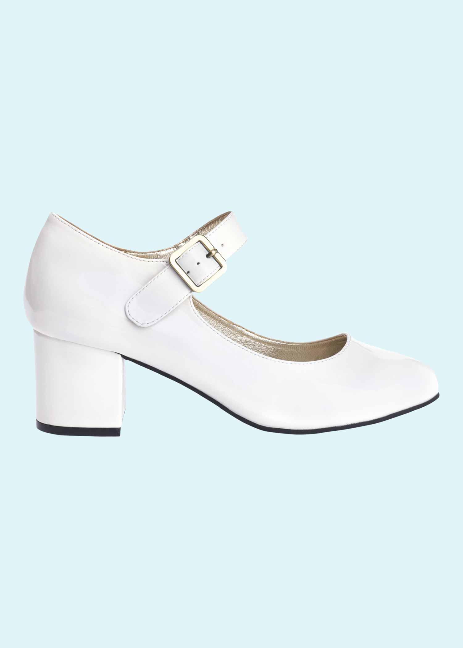 60'er Mary Jane sko i hvid lak fra Lola Ramona
