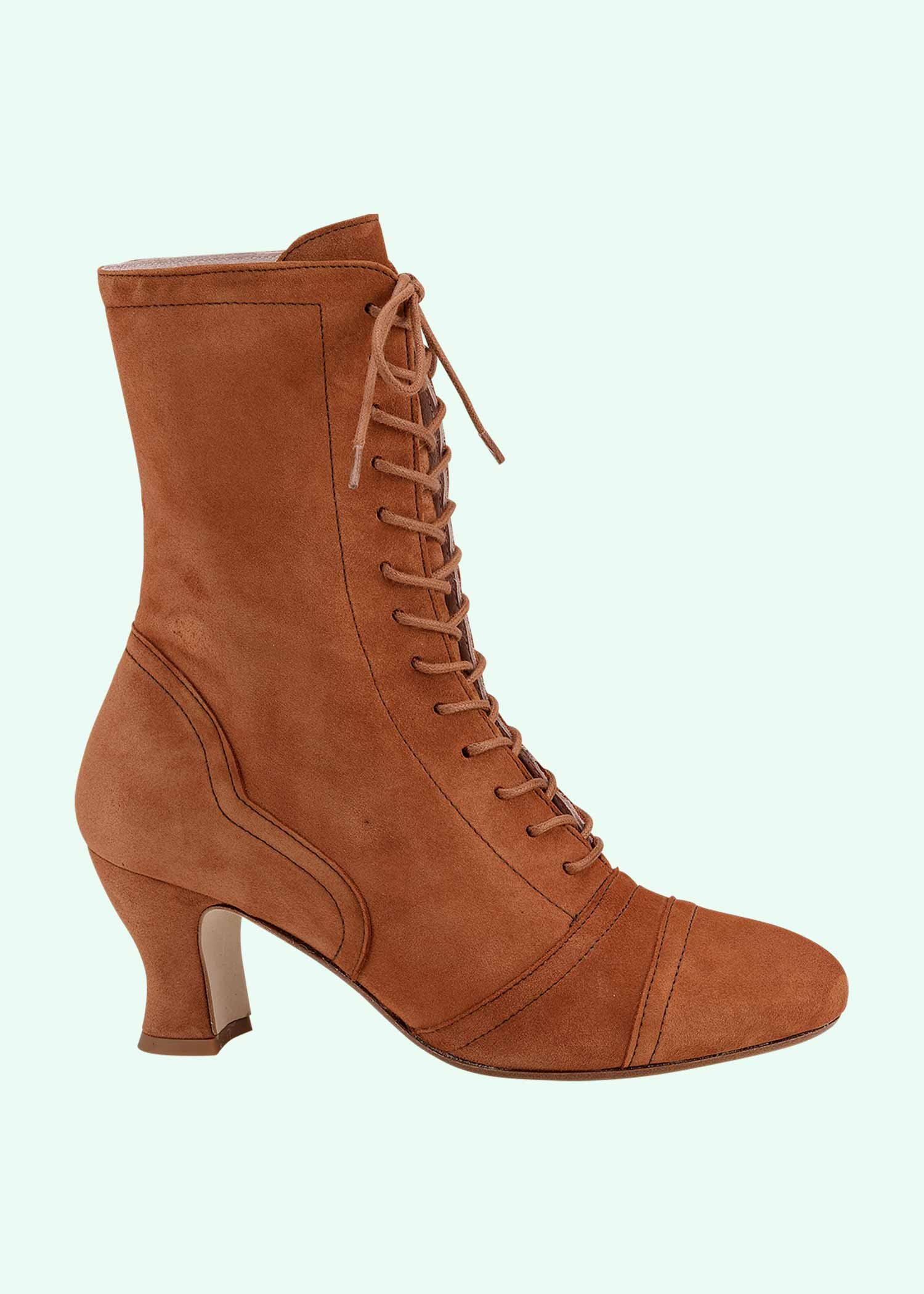 Vintage inspired suede boots in brown from Miss L Fire