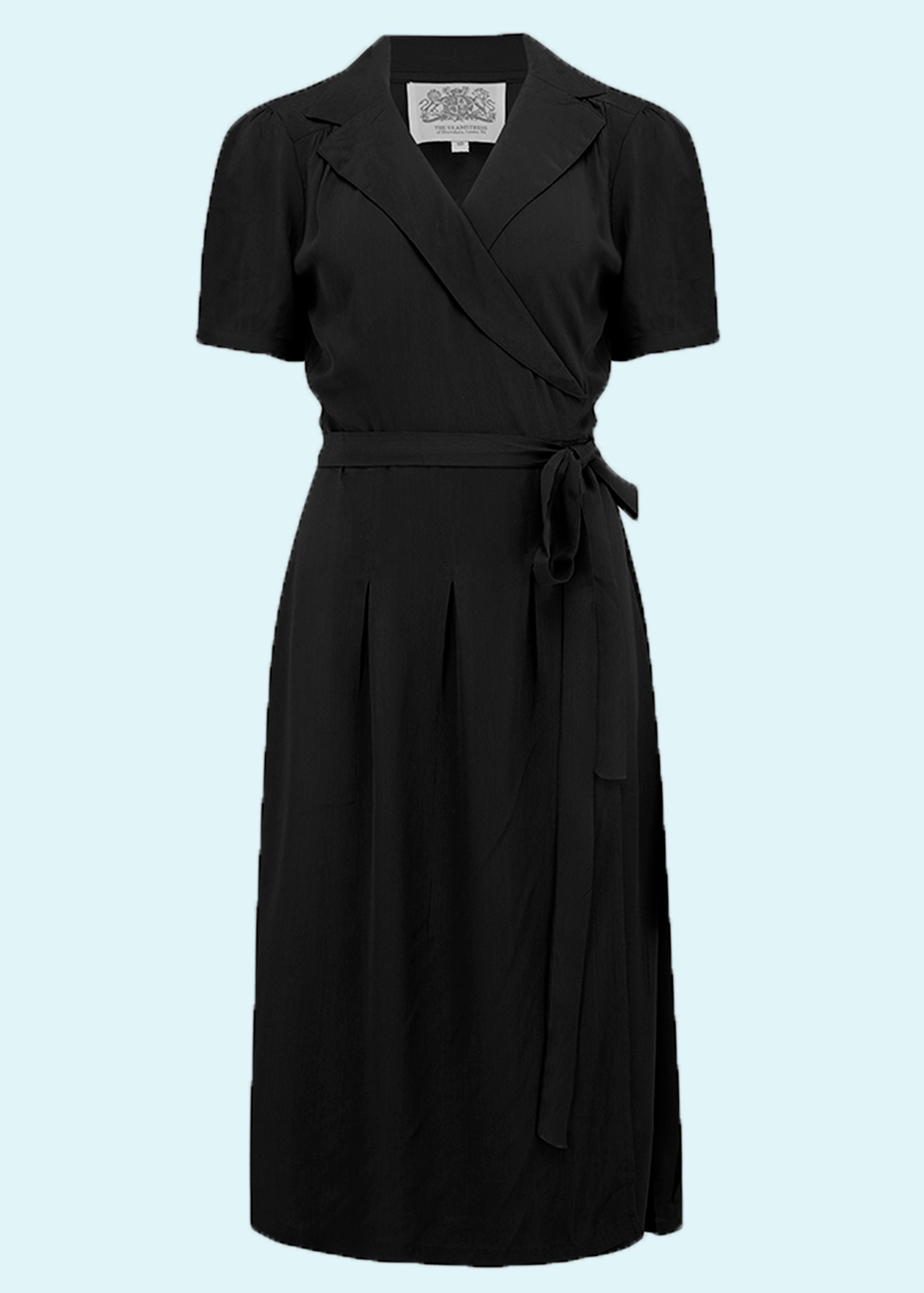 1940s vintage inspired wrap dress in black from seamstress of bloomsbury