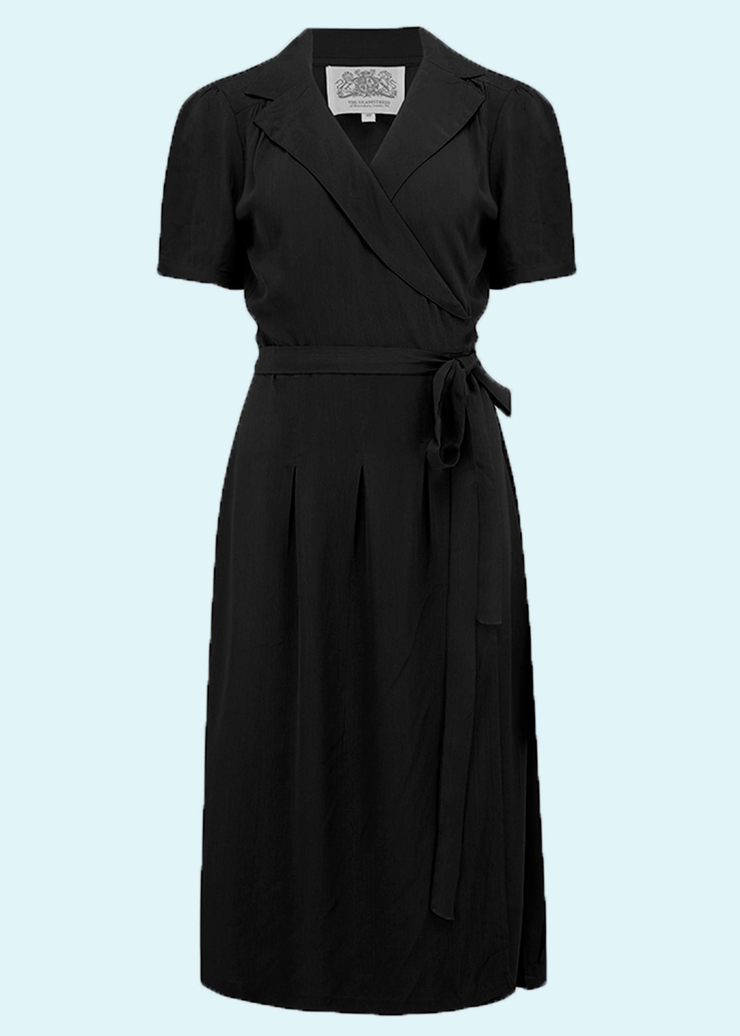 1940er vintage inspireret slå om kjole i sort fra seamstress of bloomsbury