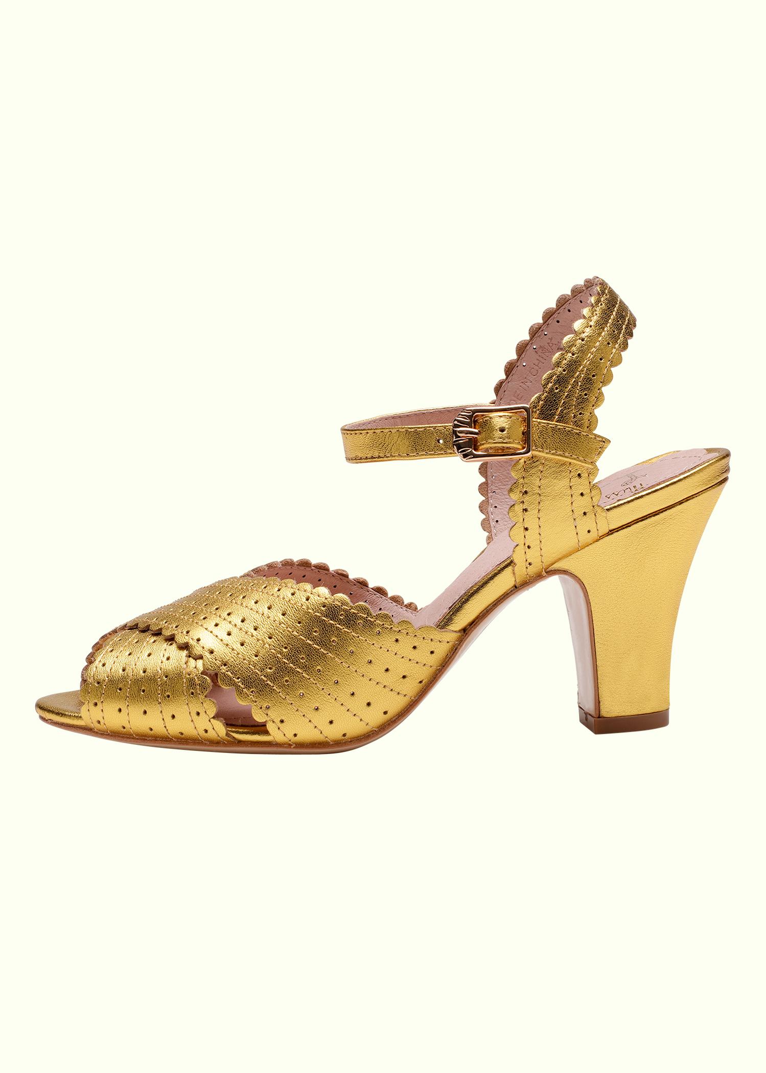Vintage 50er stils guld brude sko fra Miss L Fire