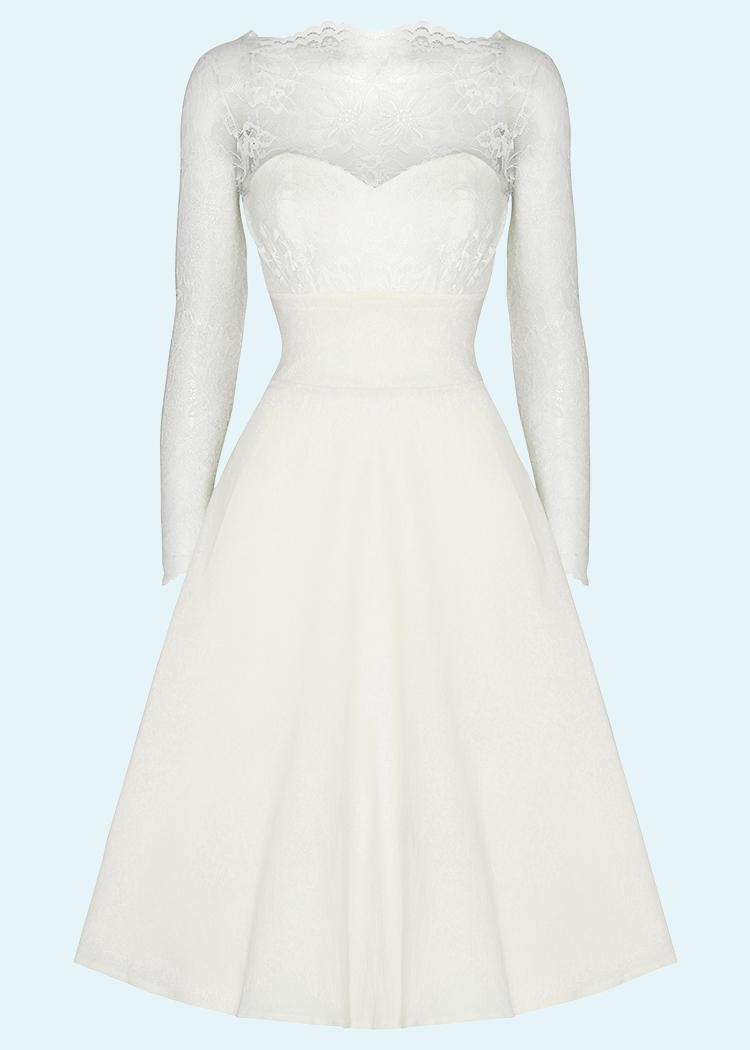 50er vintage stils brudekjole med blonder og lange ærmer fra House Of Foxy