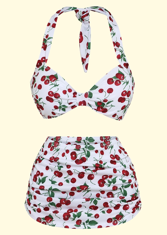 1950s retro bikini with cherries by esther williams