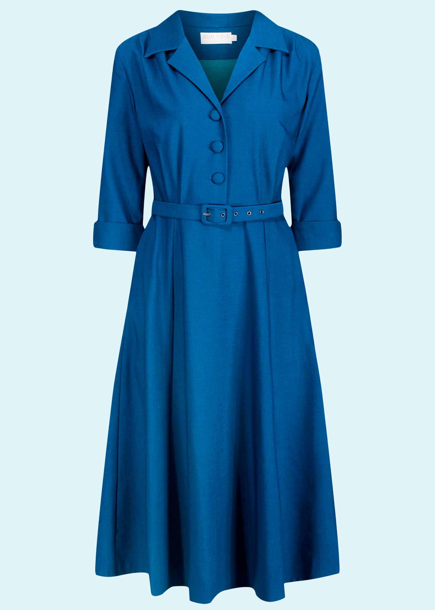 Blå langæremt skjortekjole fra Zoe Vine