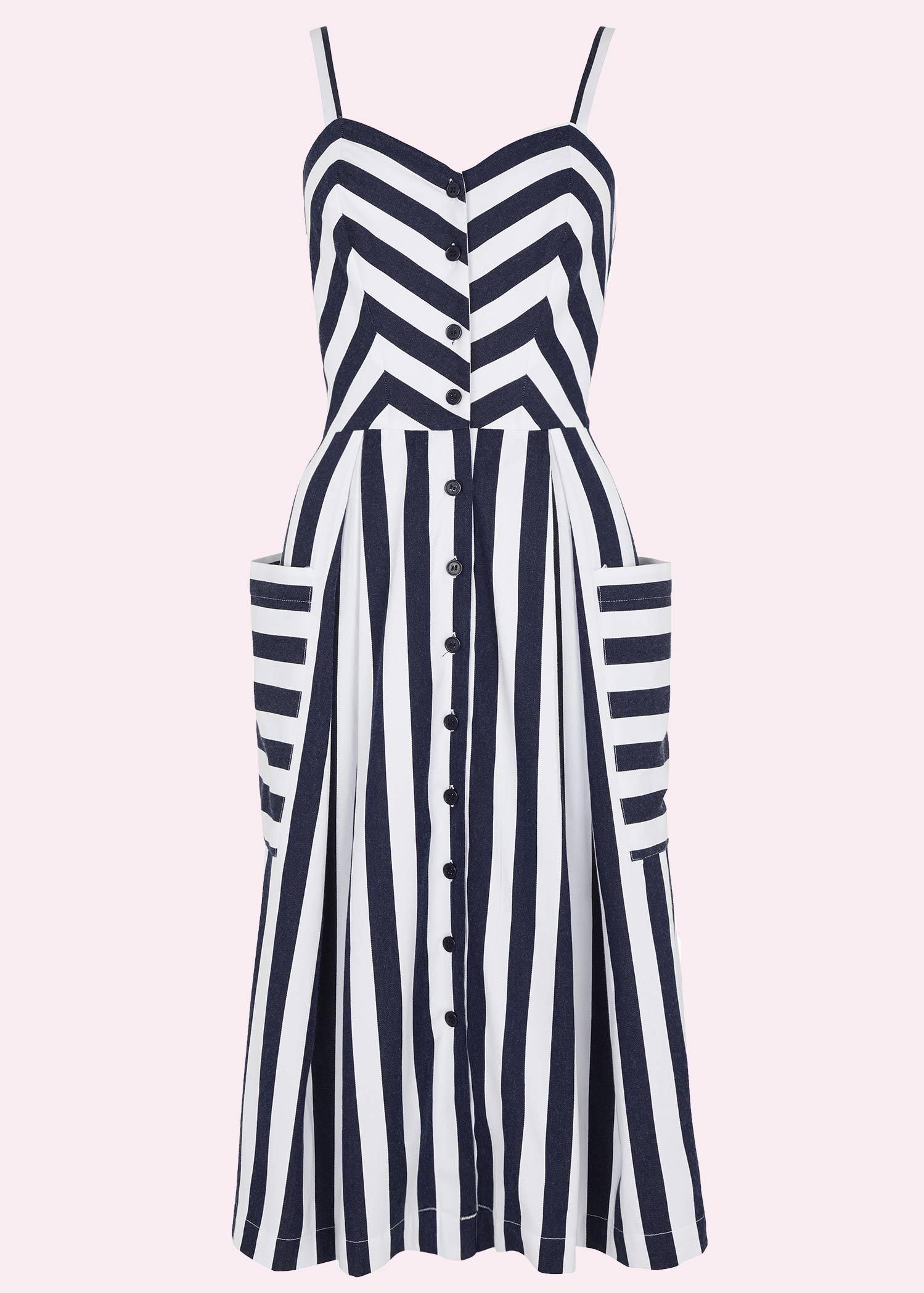 Retro Navy blå og hvid stribet sommer kjole fra emily and fin