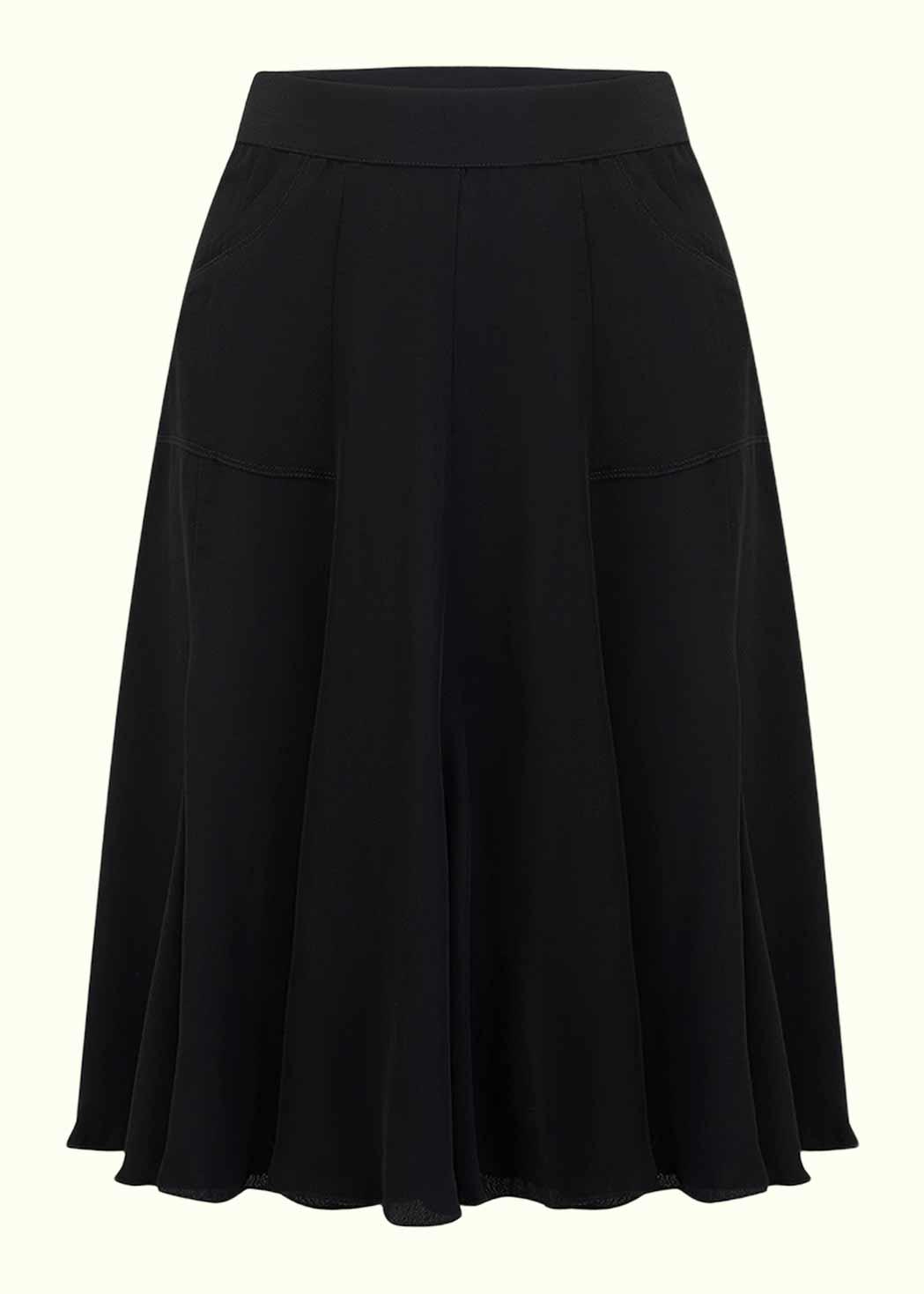 Klassisk 1940'er A-line nederdel i sort fra Seamstress OF Bloomsbury