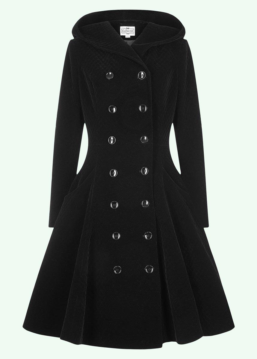 Sort vintage frakke med hætte