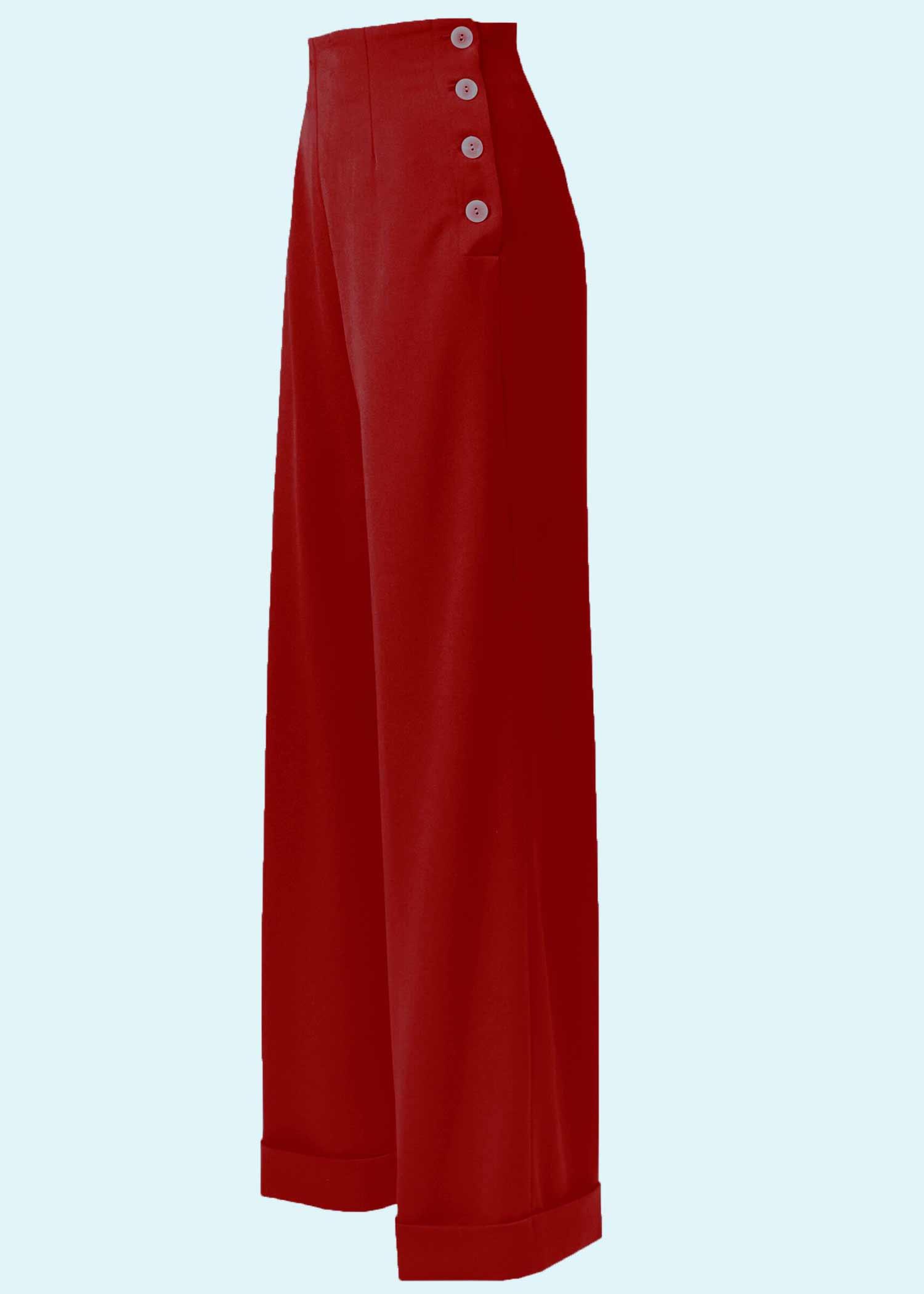 Røde bukser med brede ben og høj talje fra The House Of Foxy