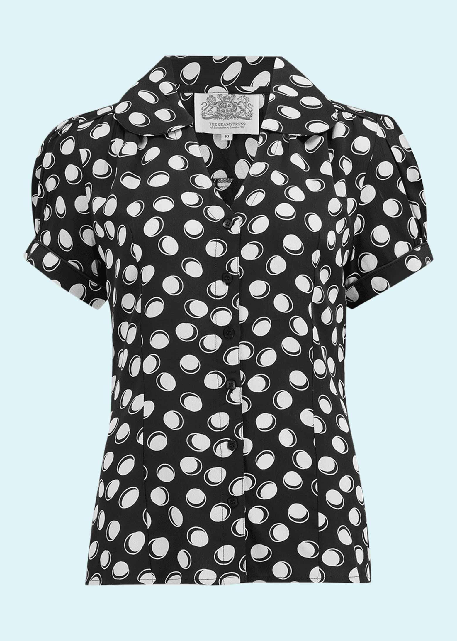 Kortærmet sort skjorte med prikker i vintage stil