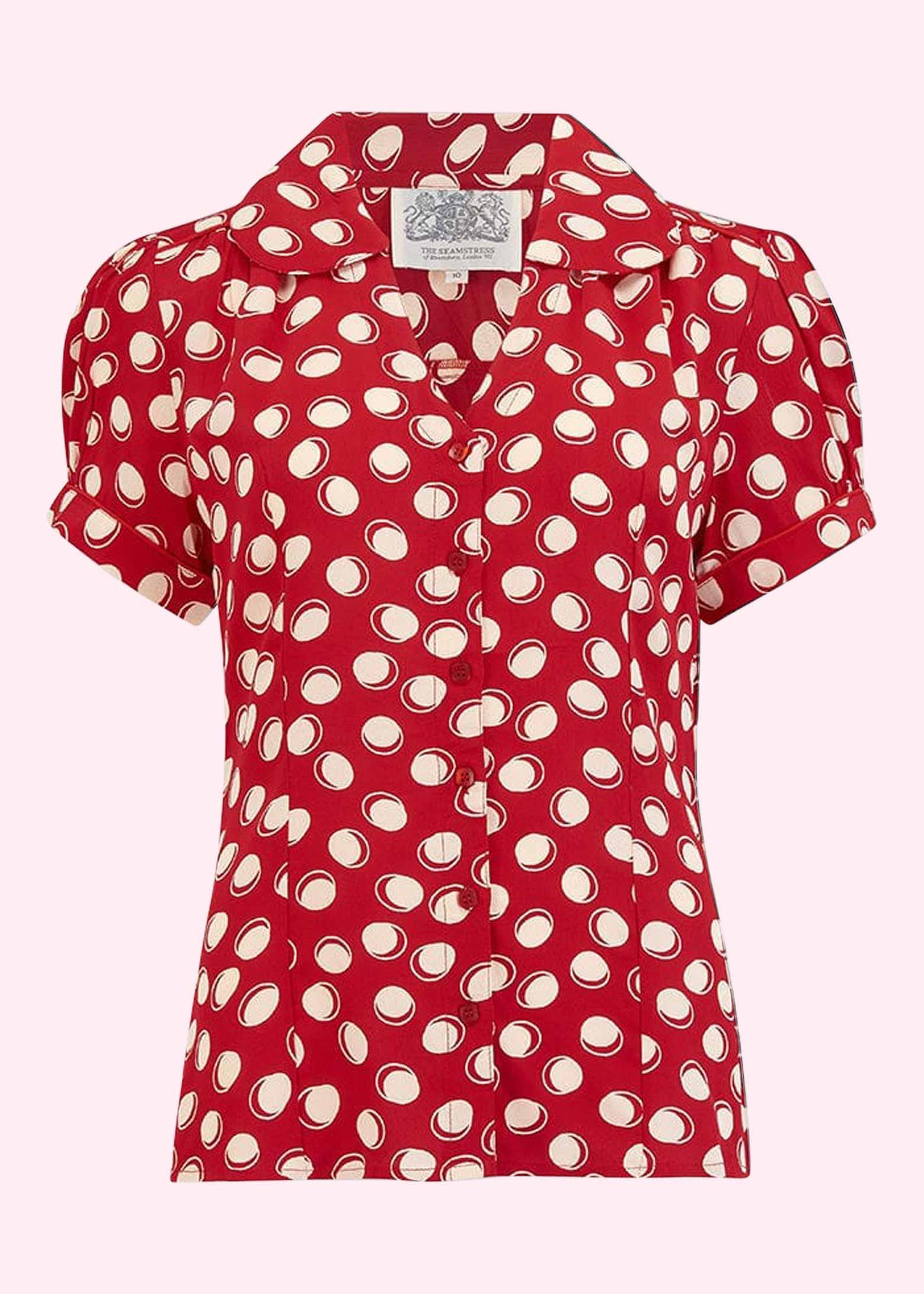 Vintage stils rød skjorte med hvide prikker