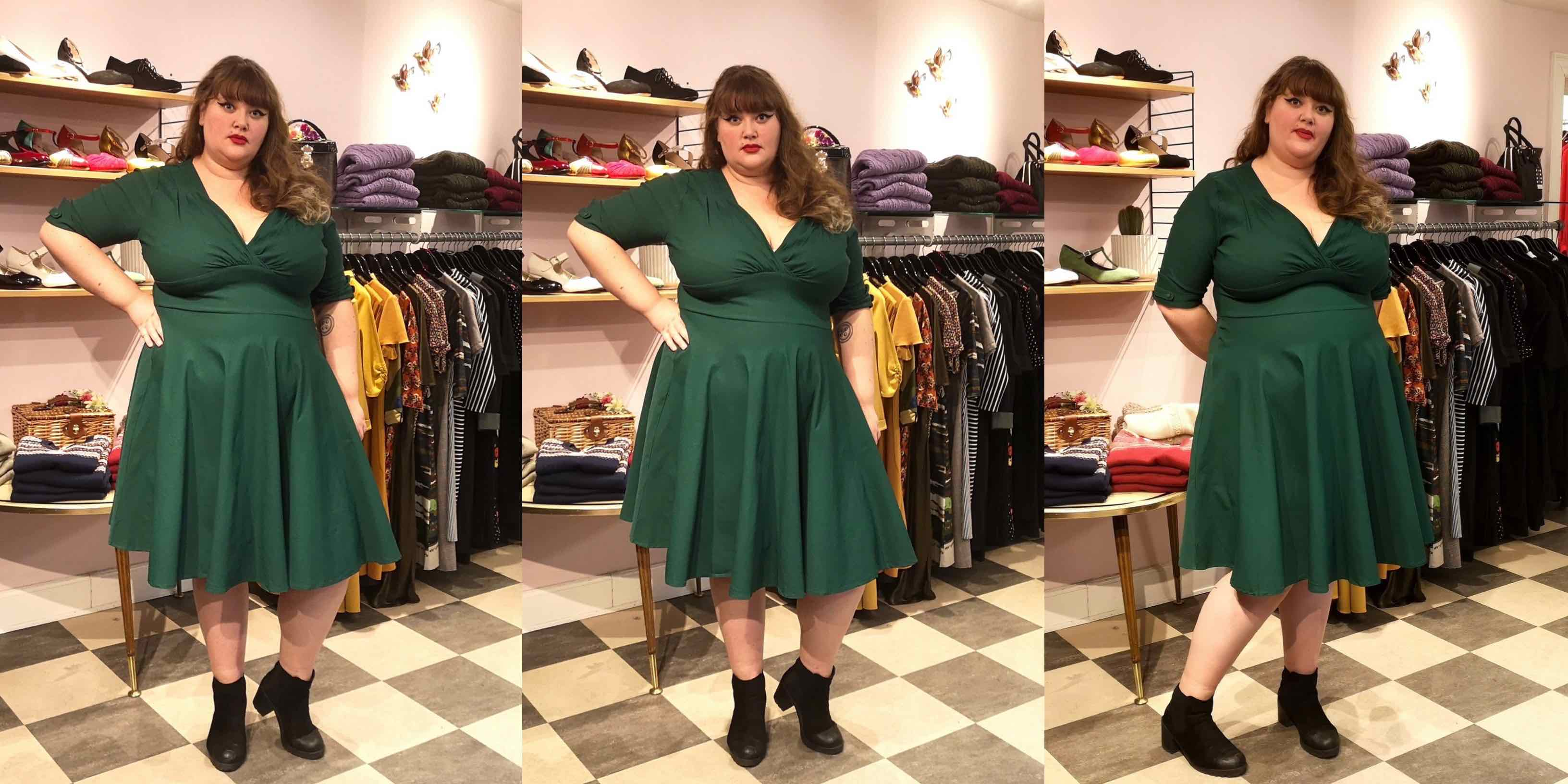 50s style swing dress in green from Unique Vintage