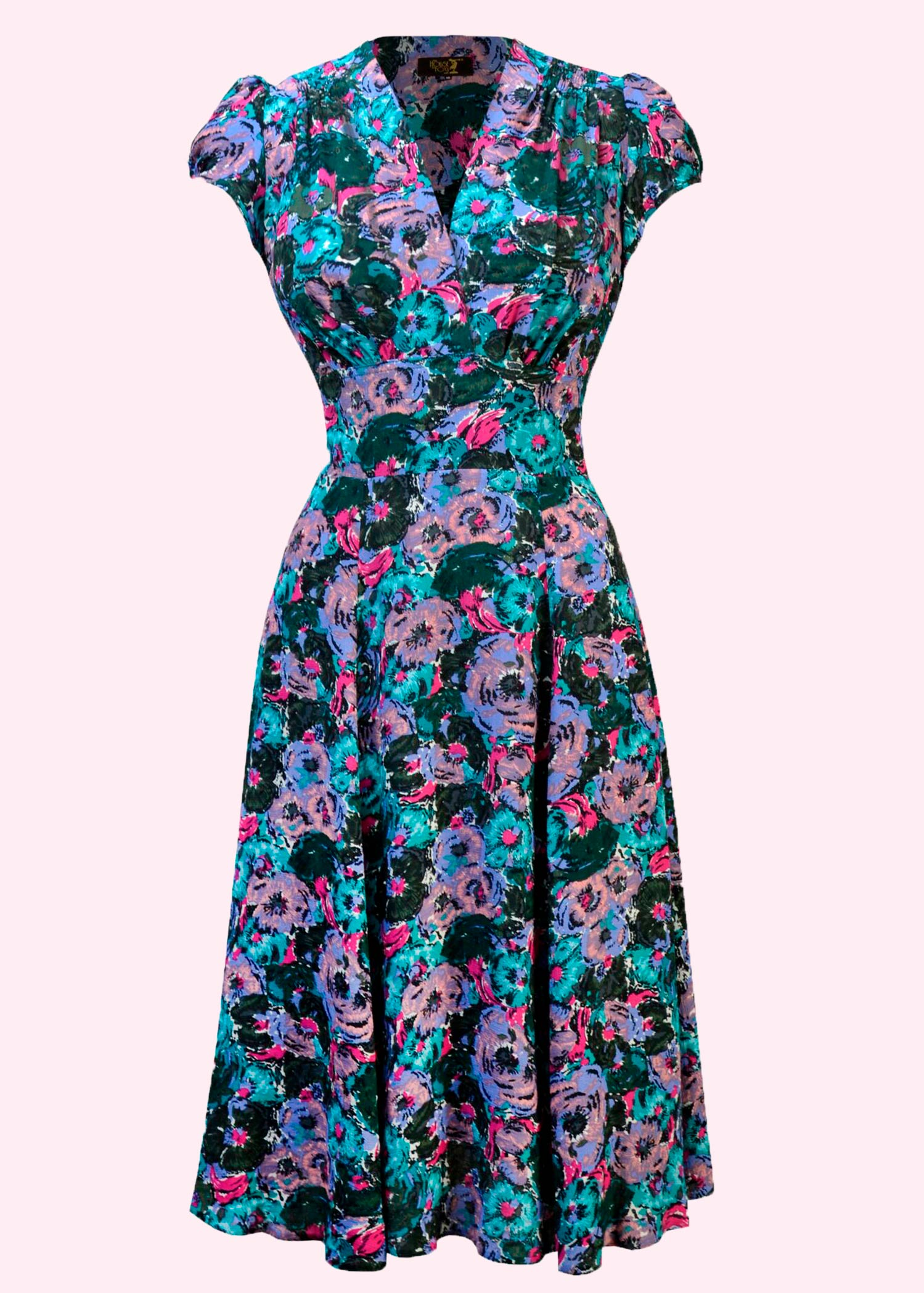 Vintage style 40s dress in floral print from House Of Foxy